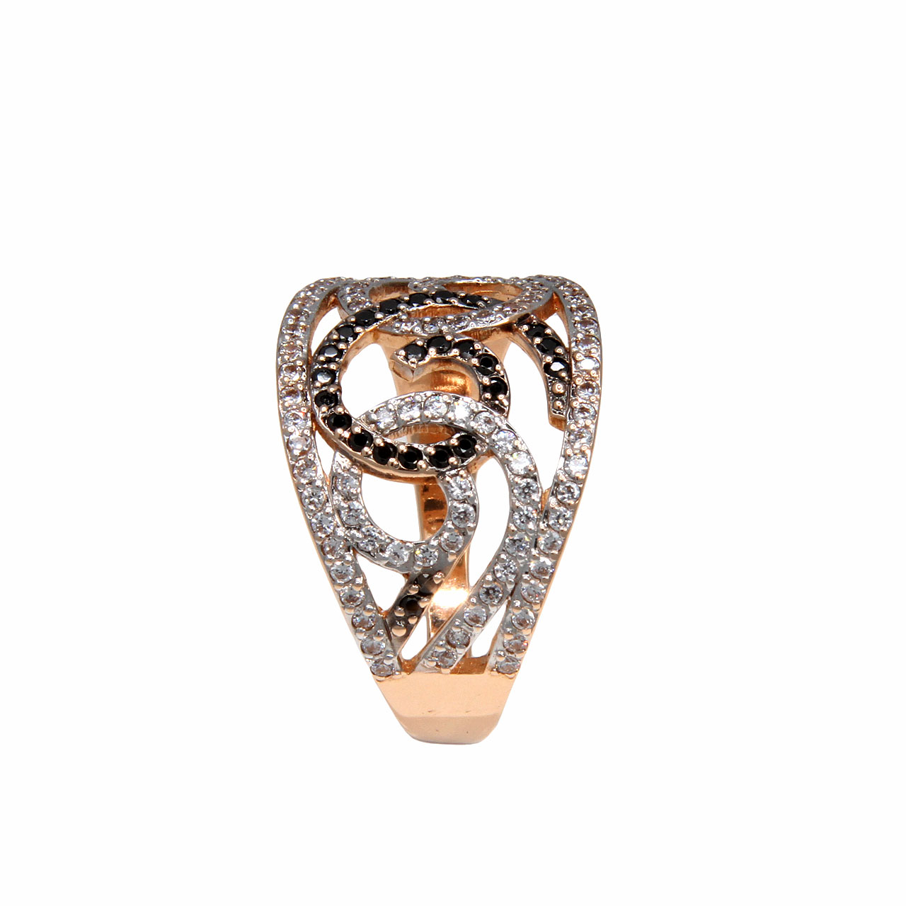 Black and white CZ gold ring 3