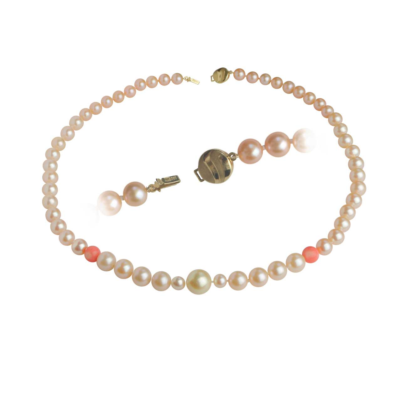 Peach pearl necklace 1