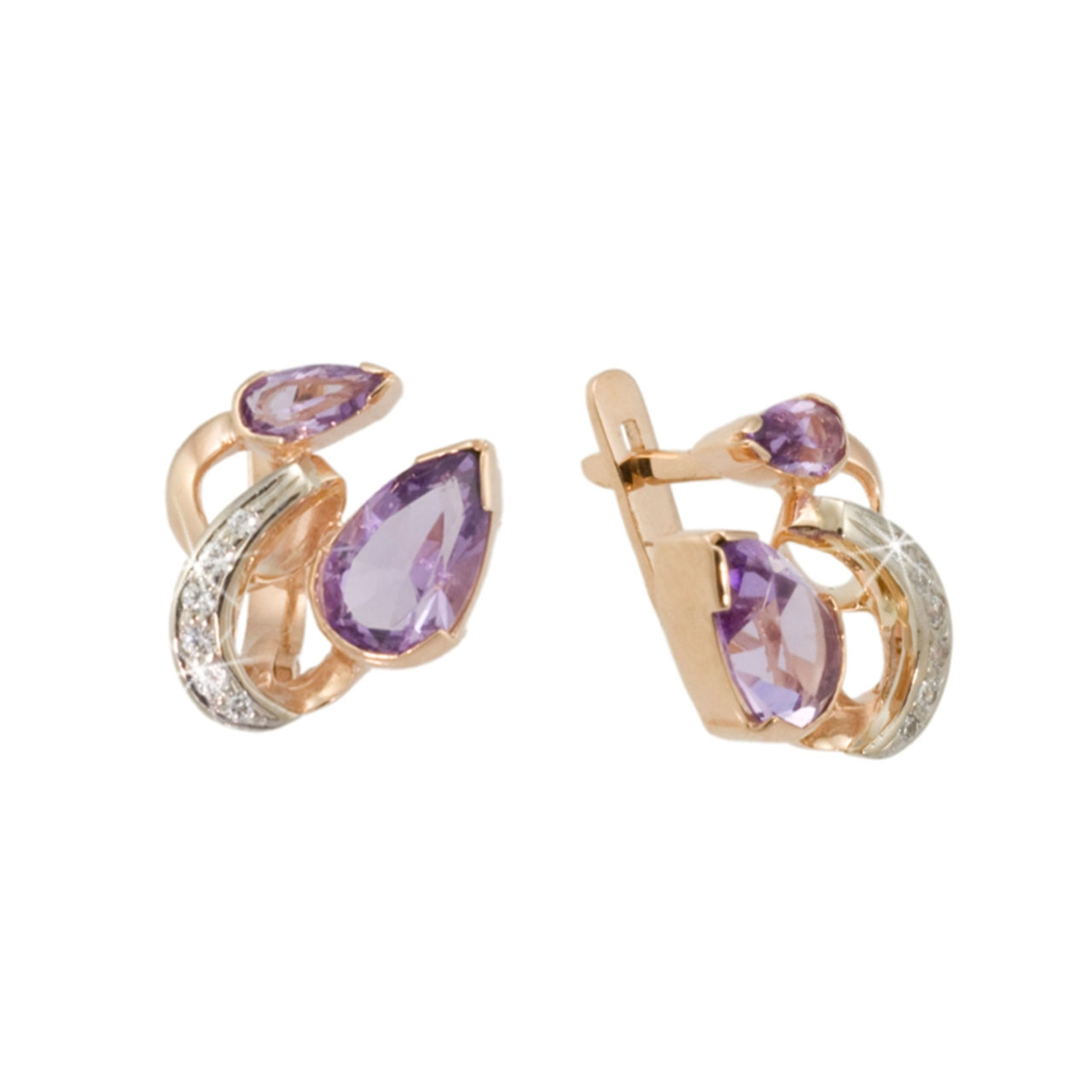 Pear-shaped Amethyst Gold Earrings