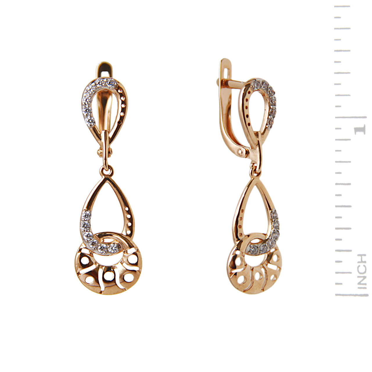 Rose gold leverback earrings 1