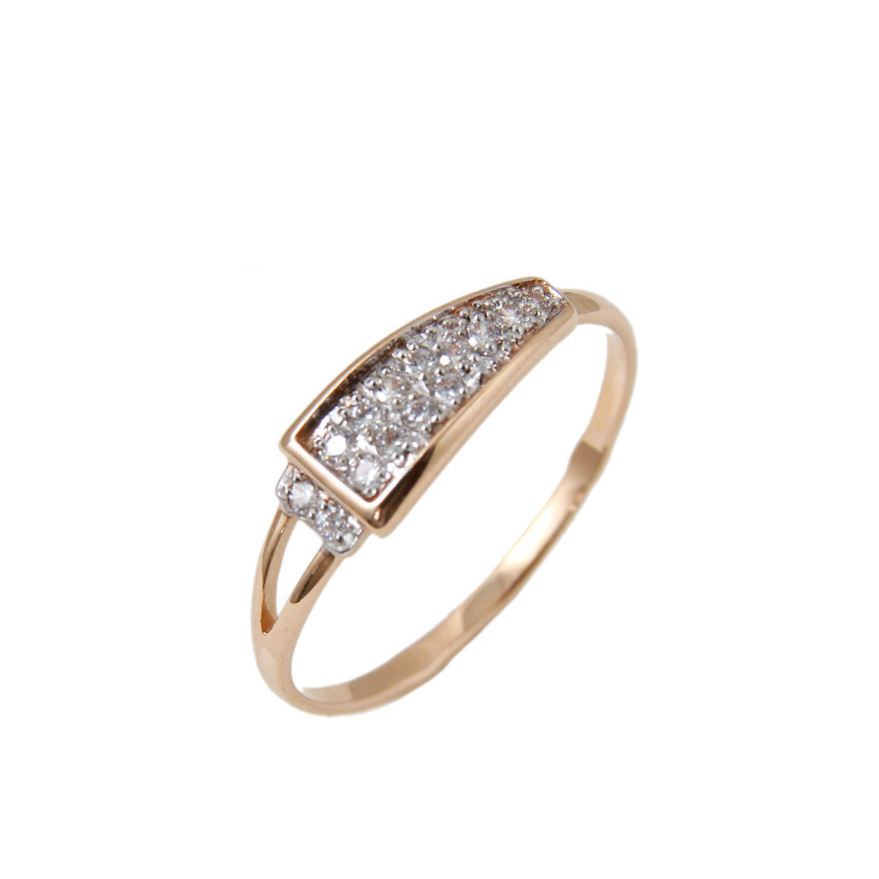 Pave CZ Trapezoidal Top Gold Ring