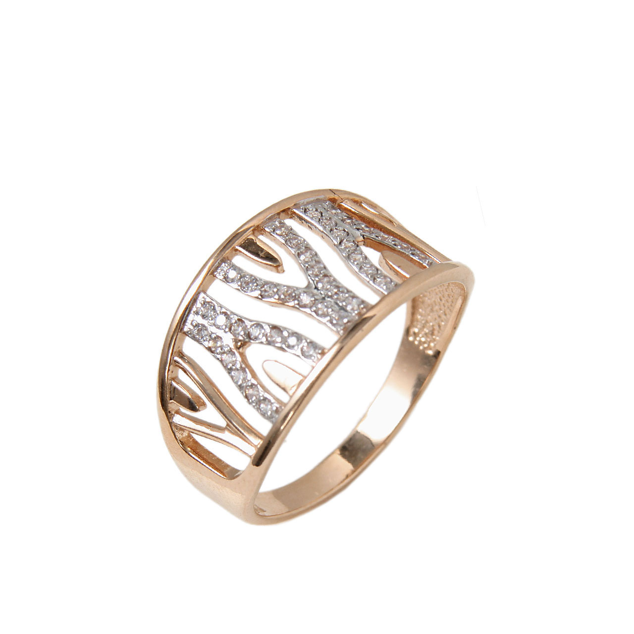 Openwork rose gold ring 1