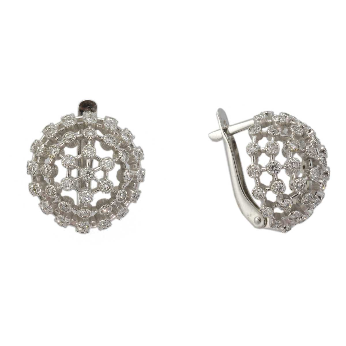 Diamond dandelion flower earrings 1