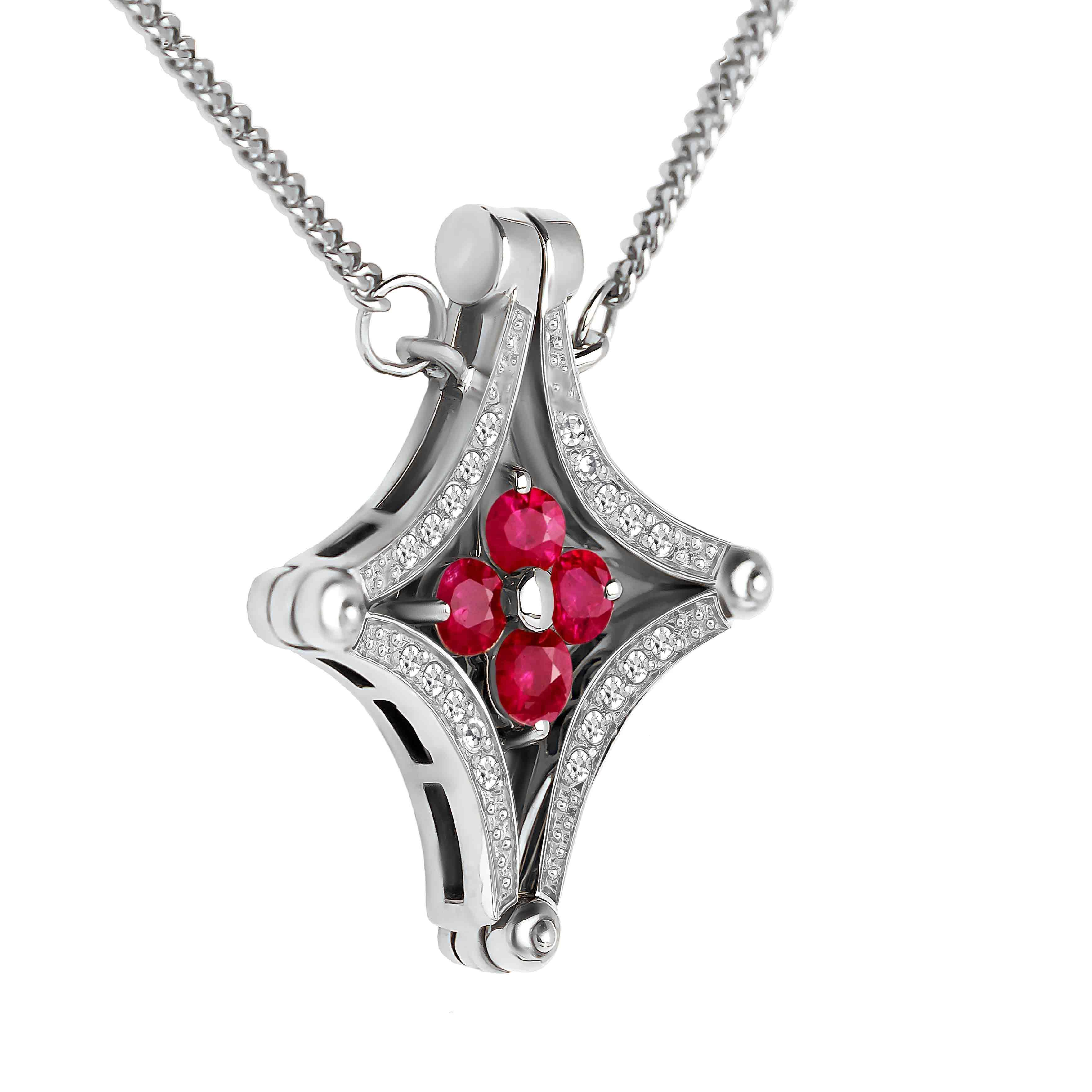 Ruby Diamond White Gold Necklace view 2