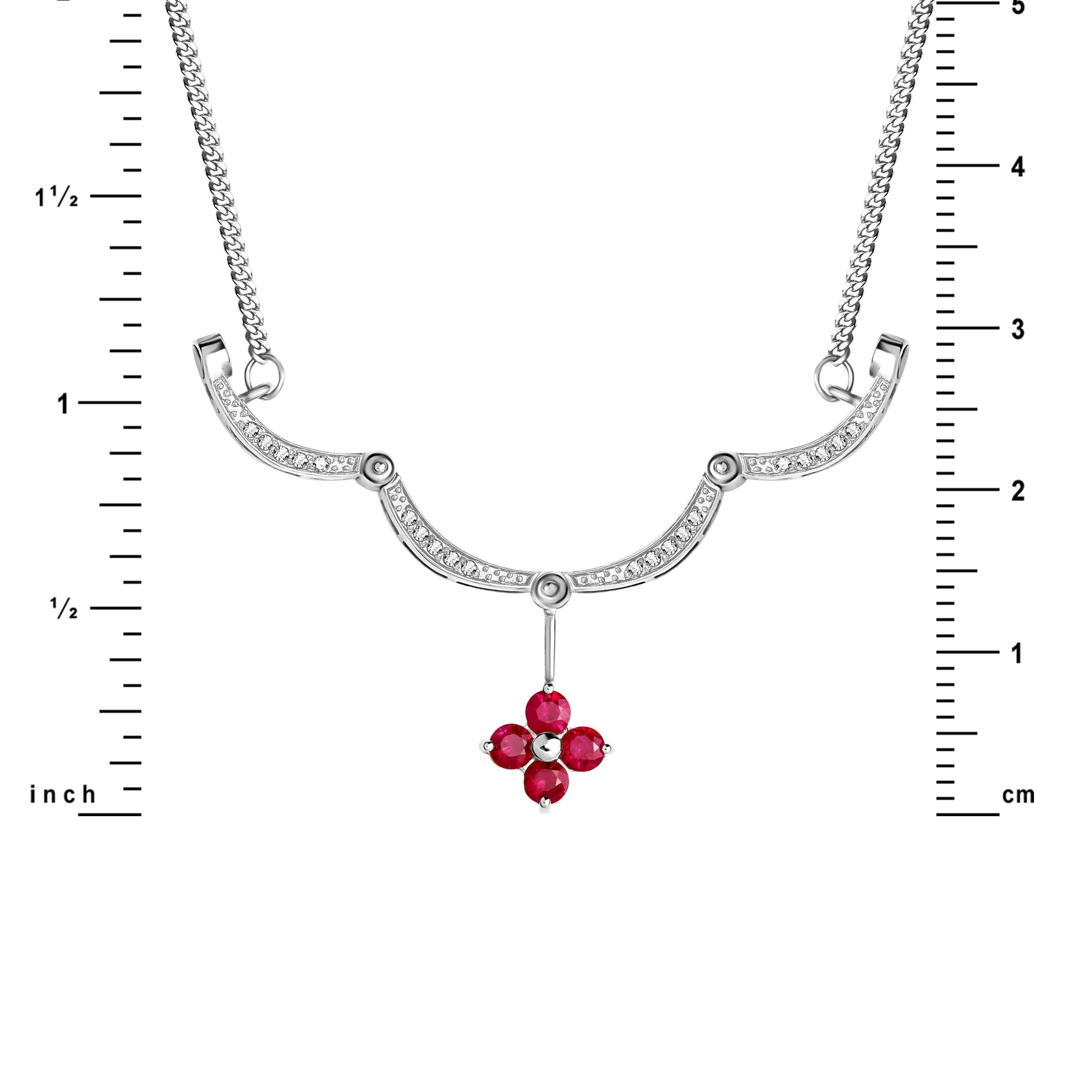 Ruby Diamond White Gold Necklace view 3