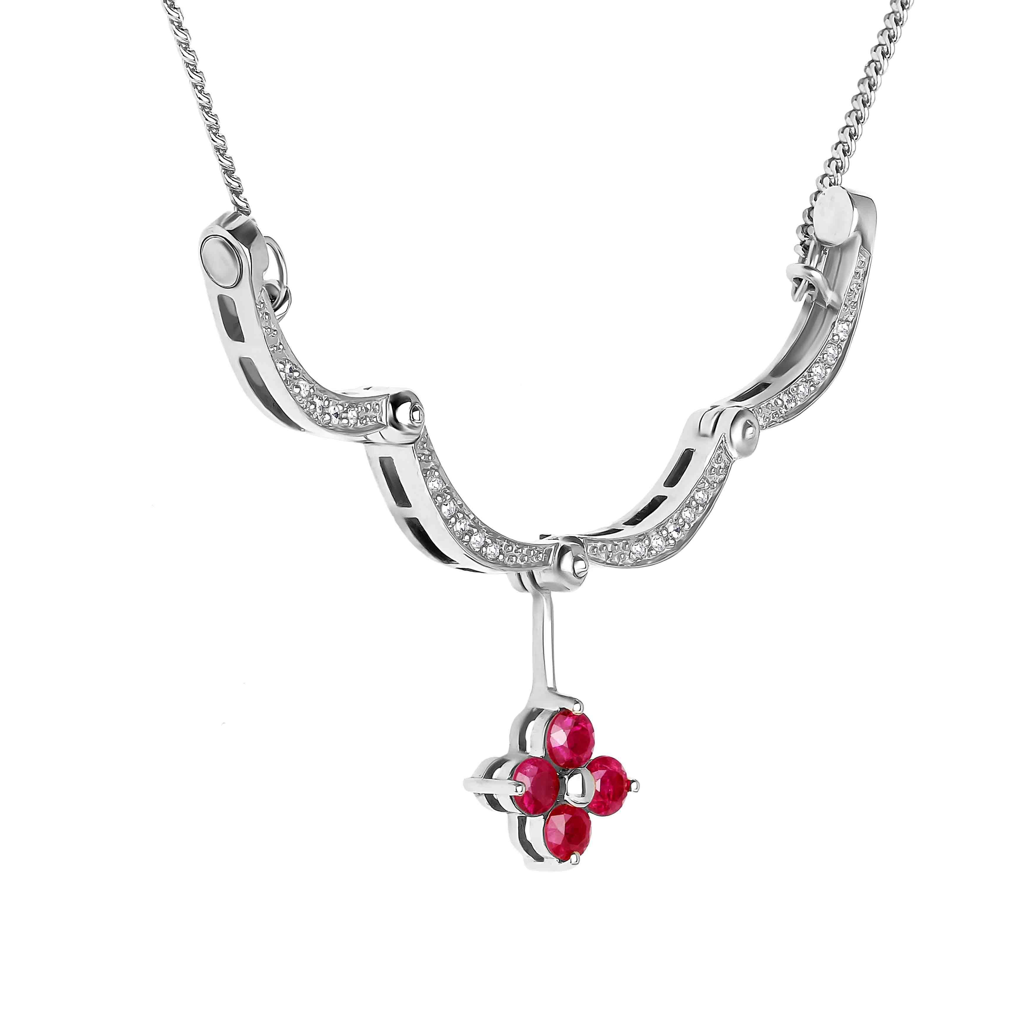 Ruby Diamond White Gold Necklace view 4