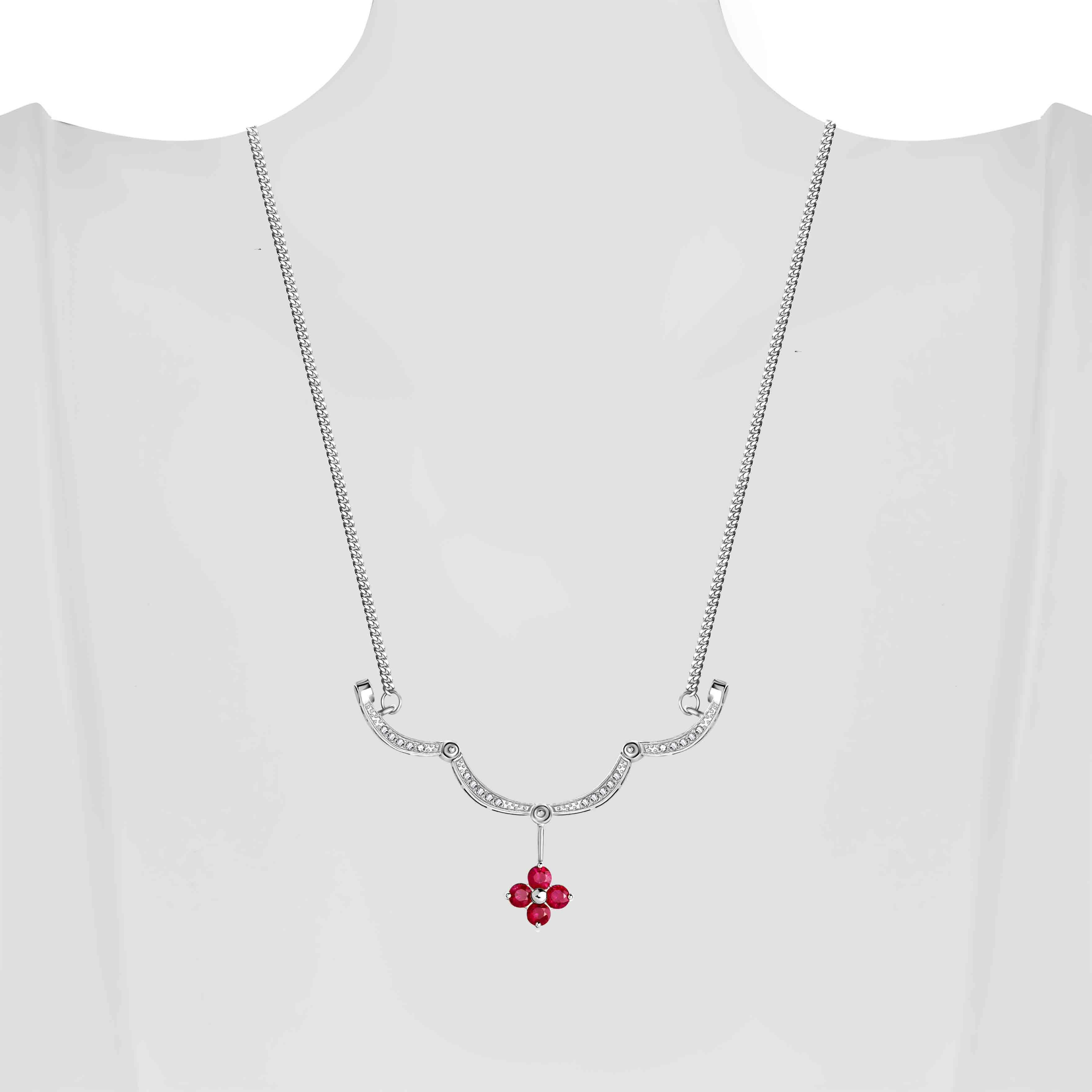 Ruby Diamond White Gold Necklace view 5