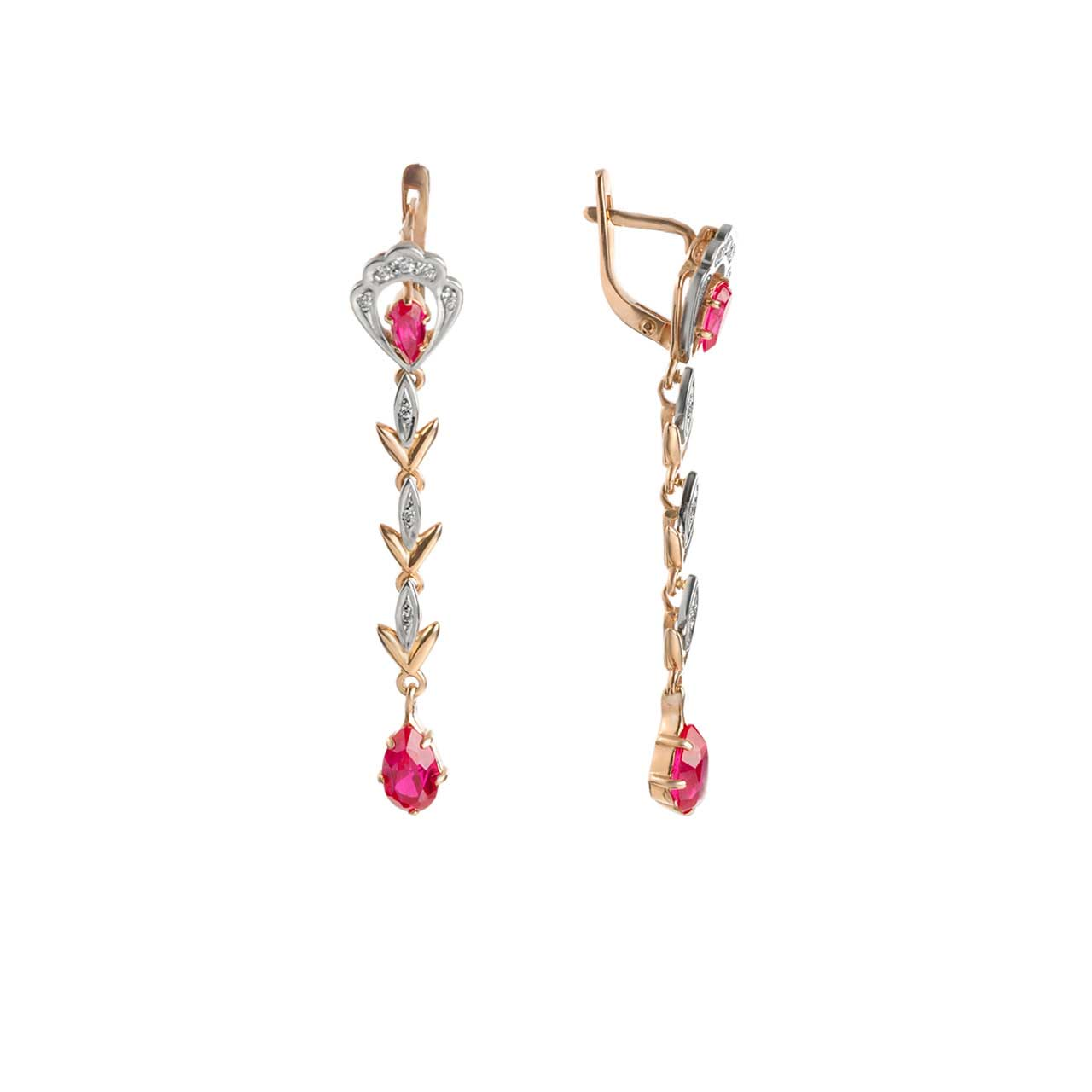 Faux Ruby and CZ Stacked-link Earrings