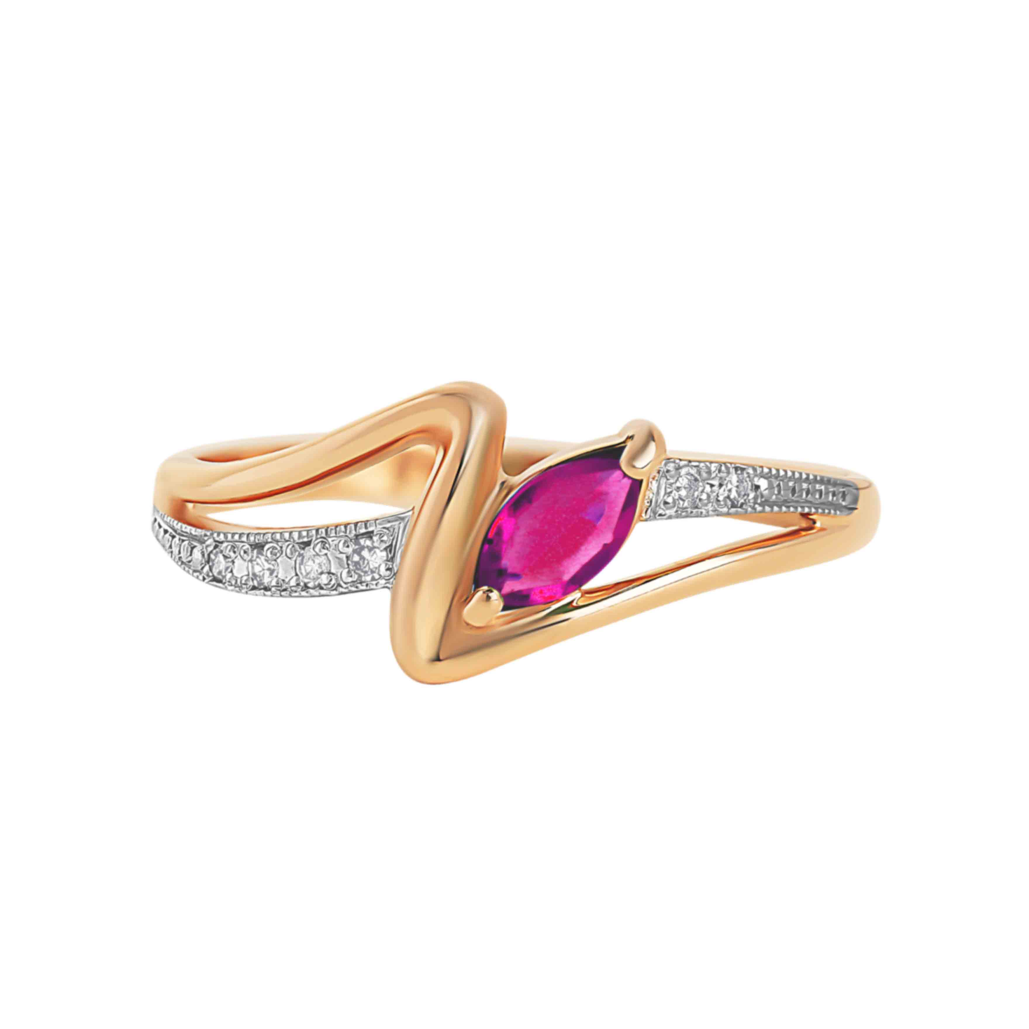 Marquise-shaped Ruby and Diamond Ring. View 2