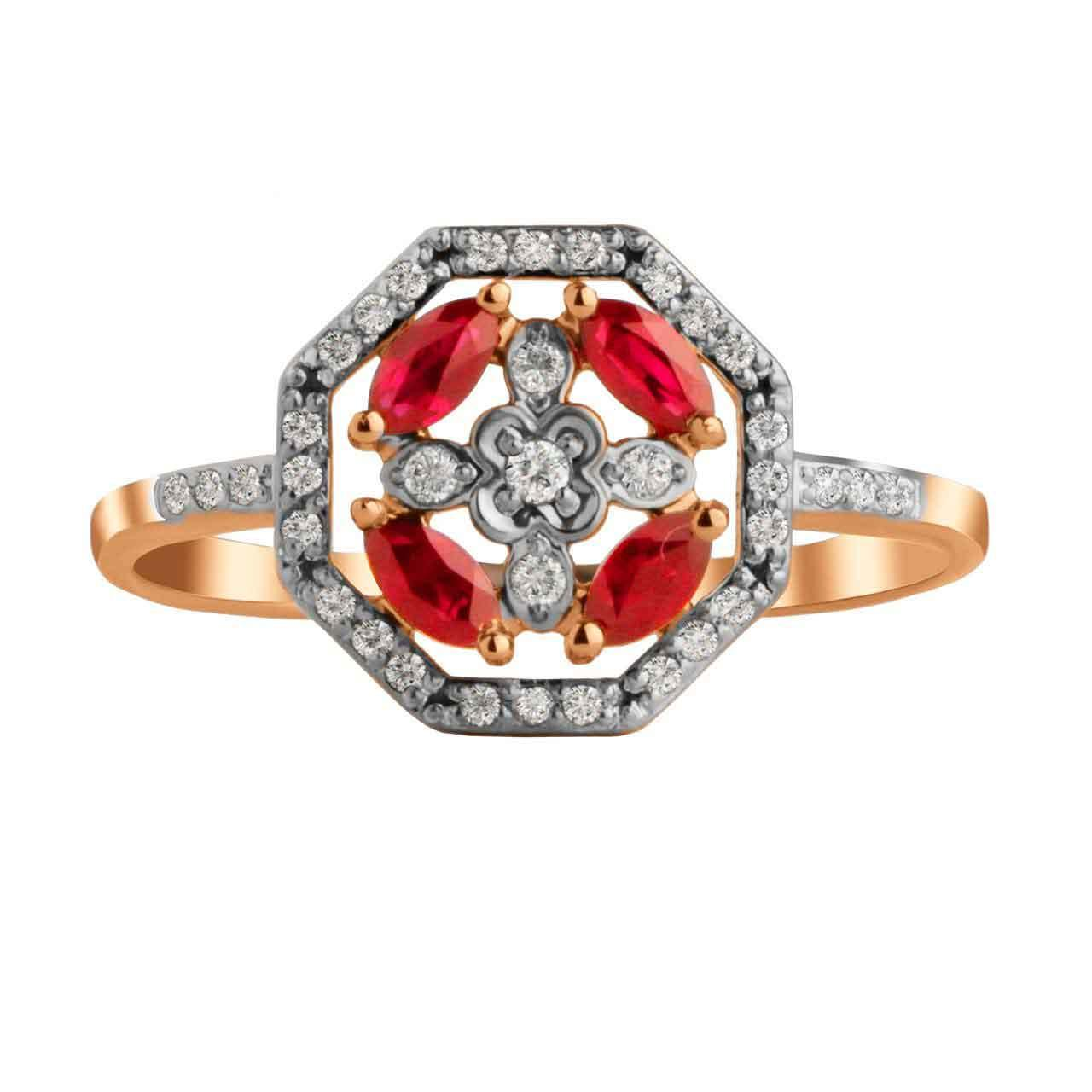 Ruby and Diamond Octagonal Ring. View 3