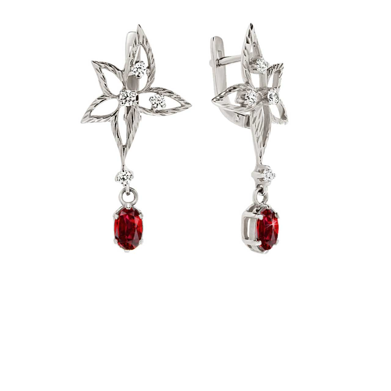 Faux Ruby Diamond Cut Leaf Earrings