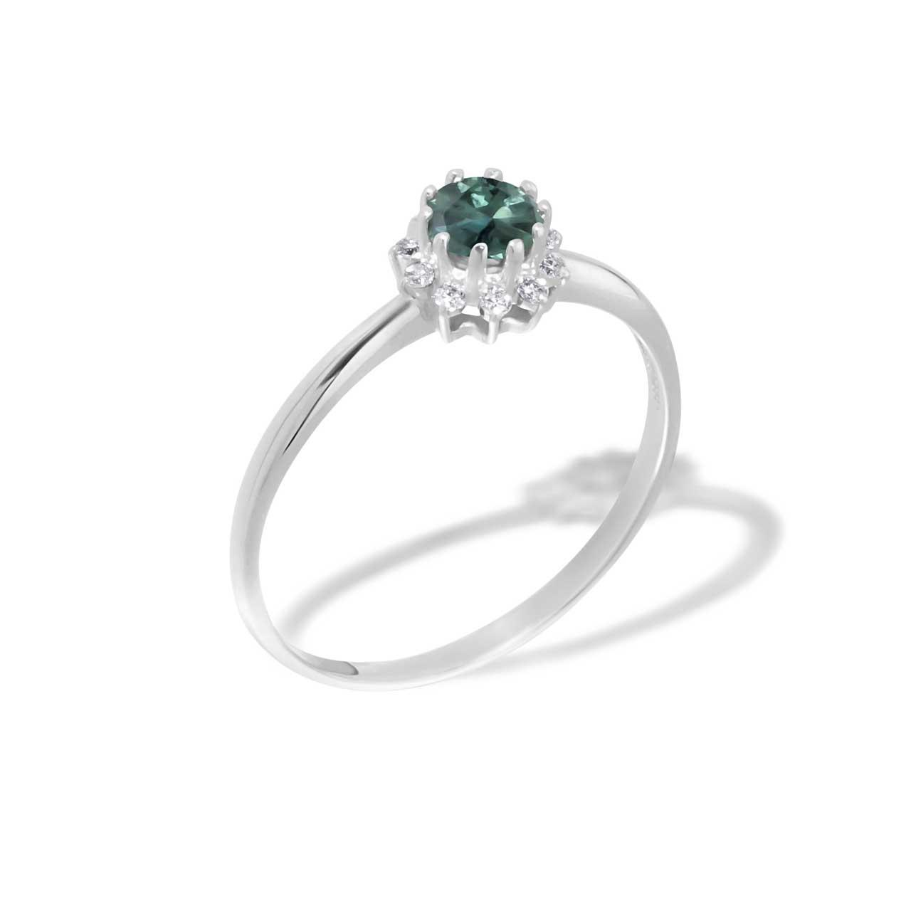 Alexandrite and Diamond Starburst Ring