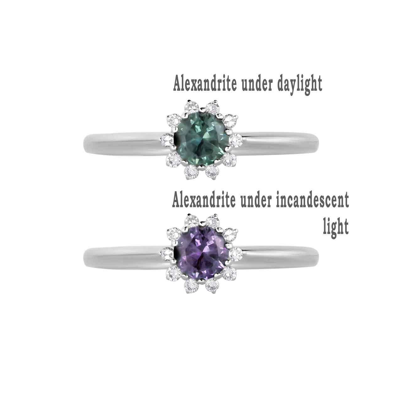 Alexandrite and Diamond Ring at Golden Flamingo store. View 2