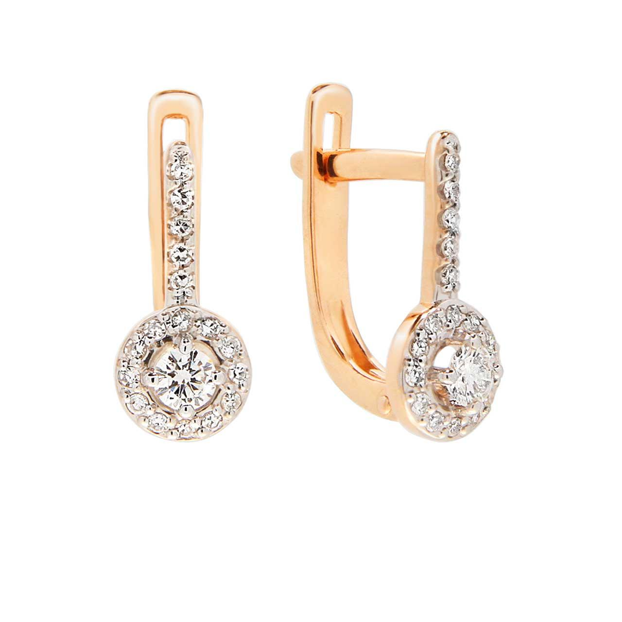 Diamond Halo Leverback Earrings
