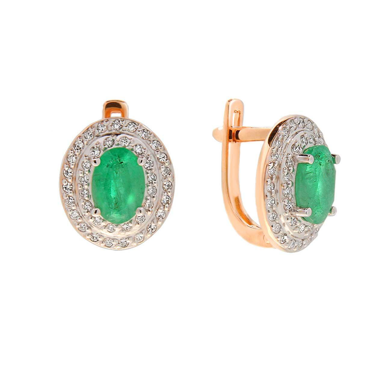 Russian emerald elliptical earrings 1