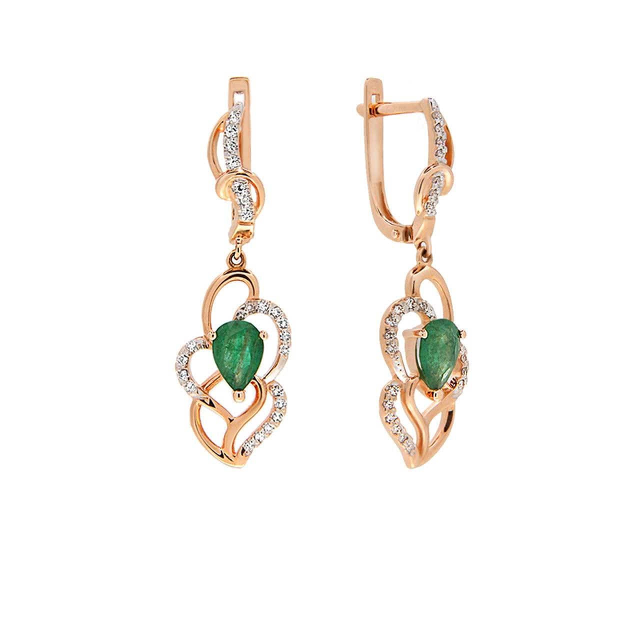 Emerald and Diamond Long Earrings