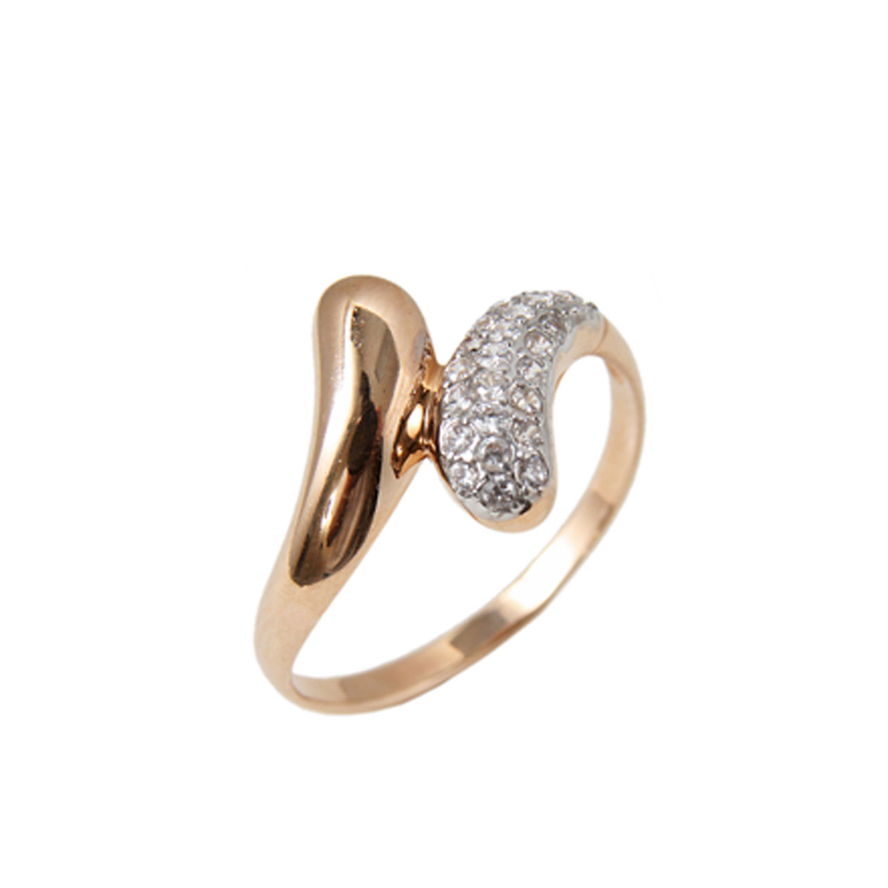 Guilloche-pave rose gold ring 1