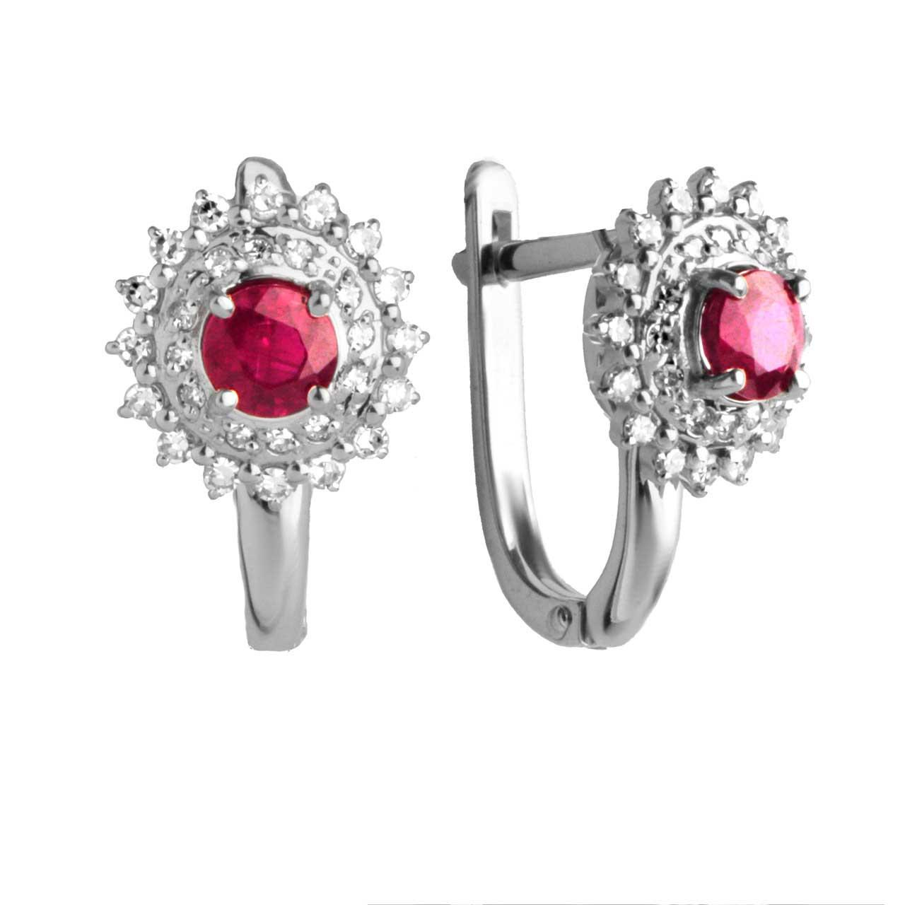 Ruby with Double Halo Diamond  Earrings
