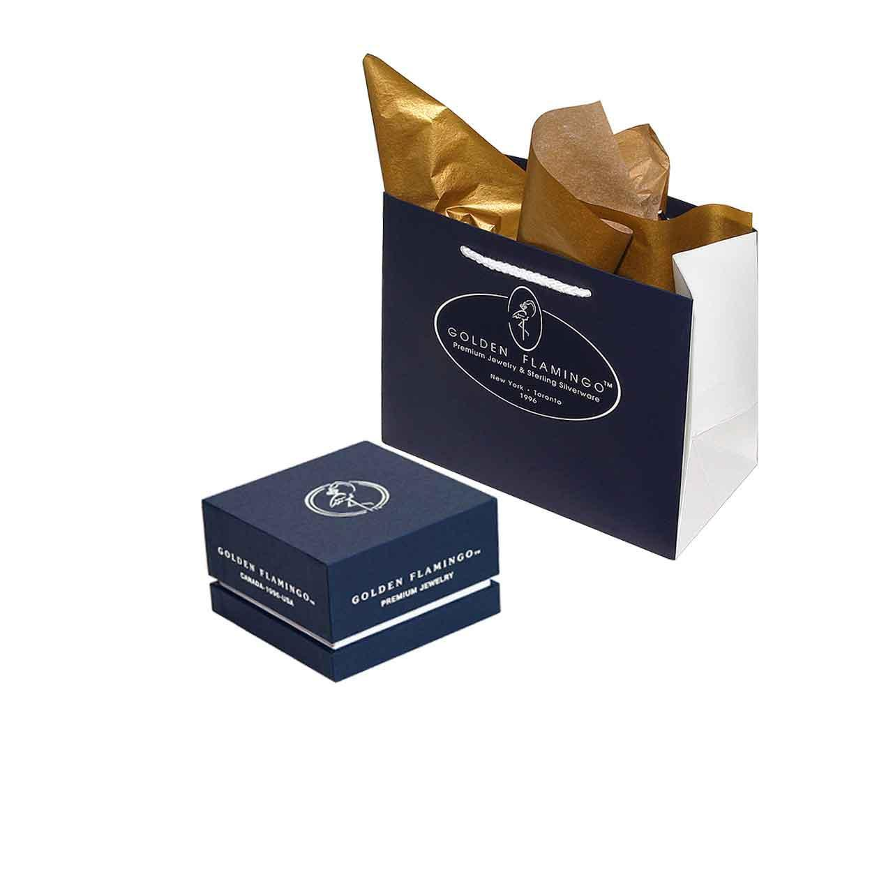 Boutique-quality gift box for gold earrings.