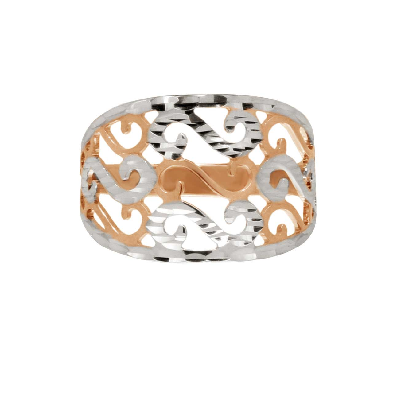 Rose Gold Ring with Cutwork Accents. View 2