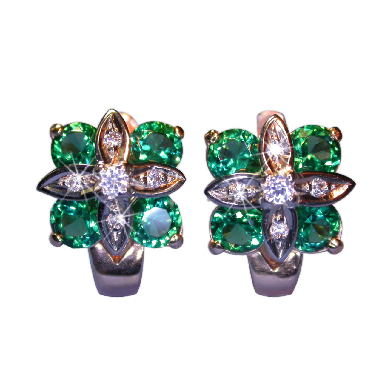 Emerald Earrings With Leverback Lock