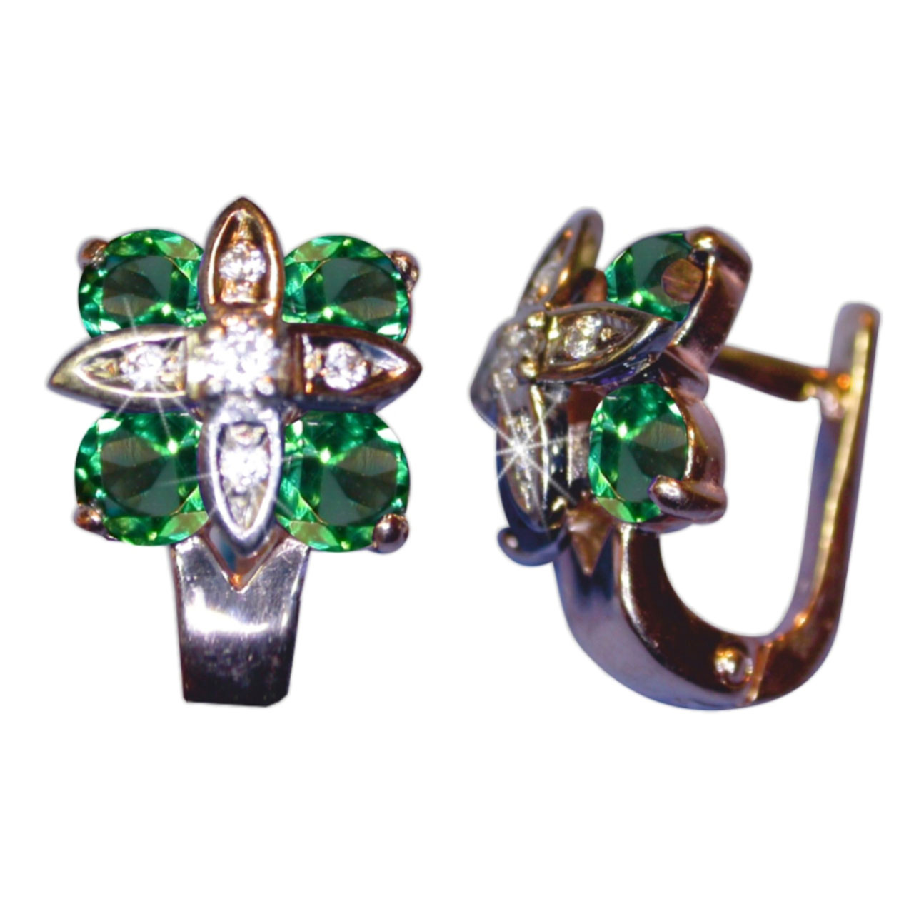 Rose and white Russian gold faux emerald earrings 2