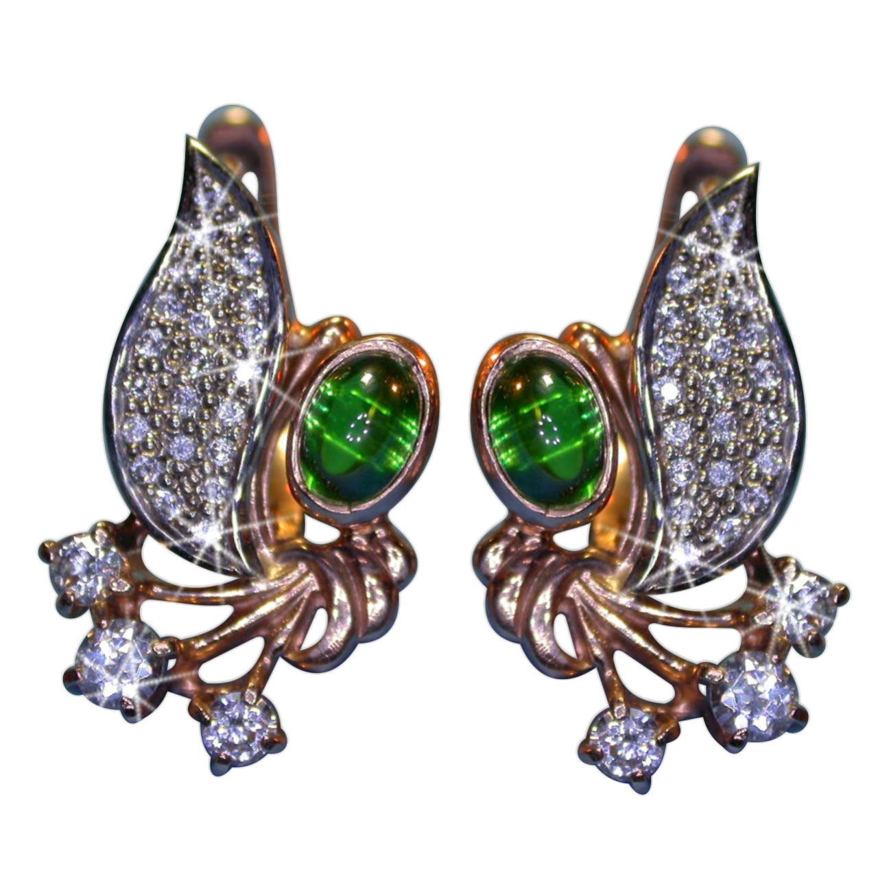 Faux* Emerald and CZ Earrings