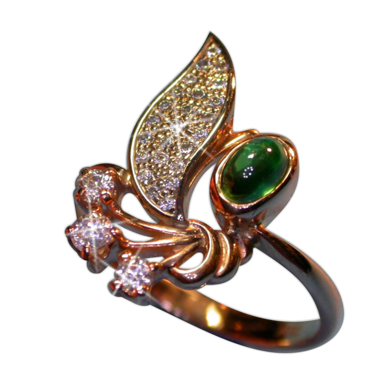 Russian gold Faberge style ring with emeralds 2