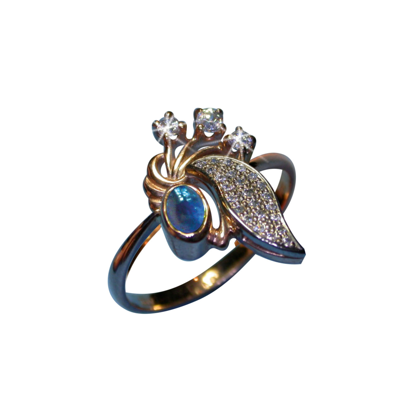 Rose & White Gold Ring With Faux* Sapphire