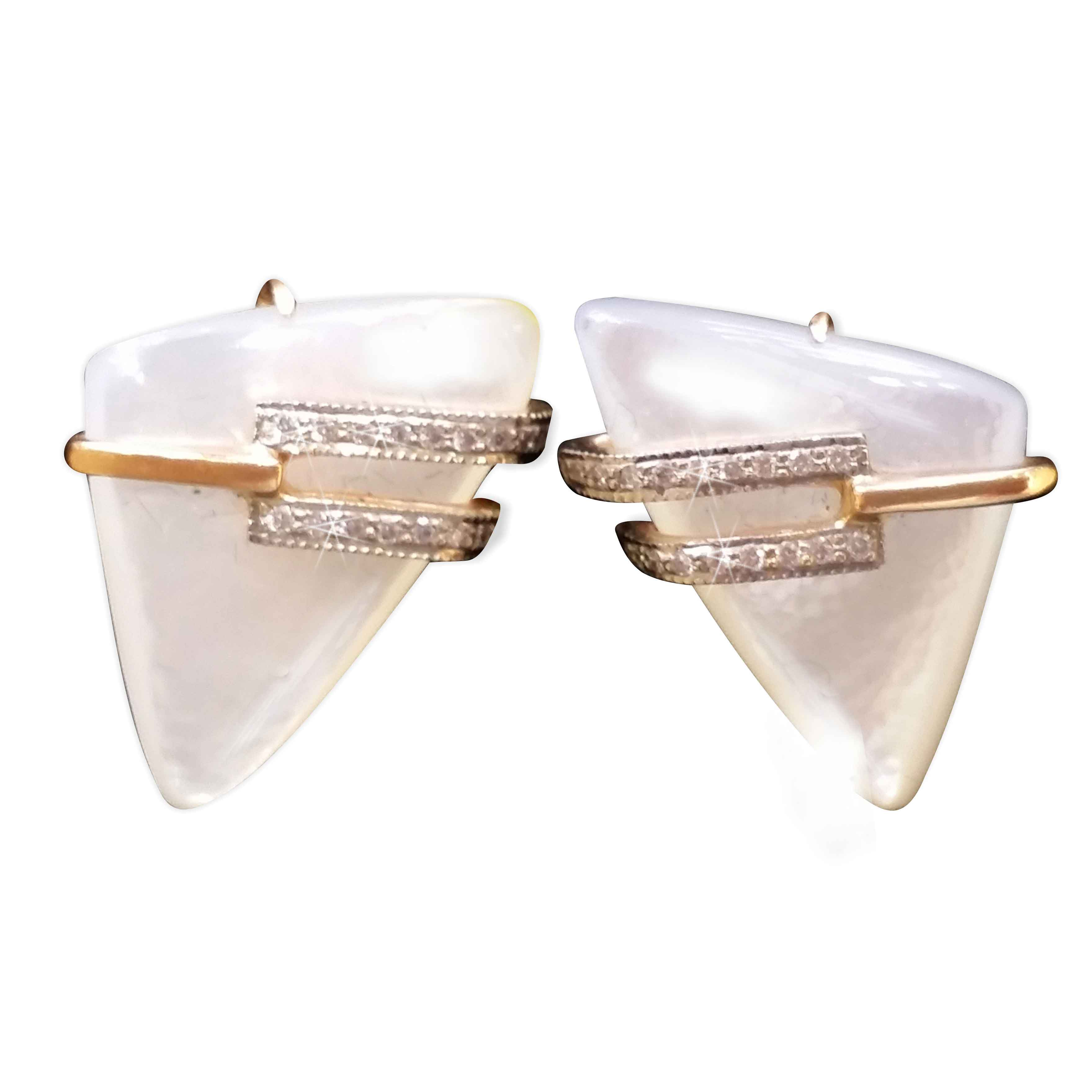 Triangular Mother-of-Pearl and CZ Earrings