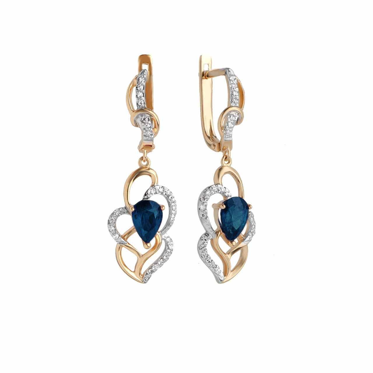 Sapphire and Diamond Long Earrings