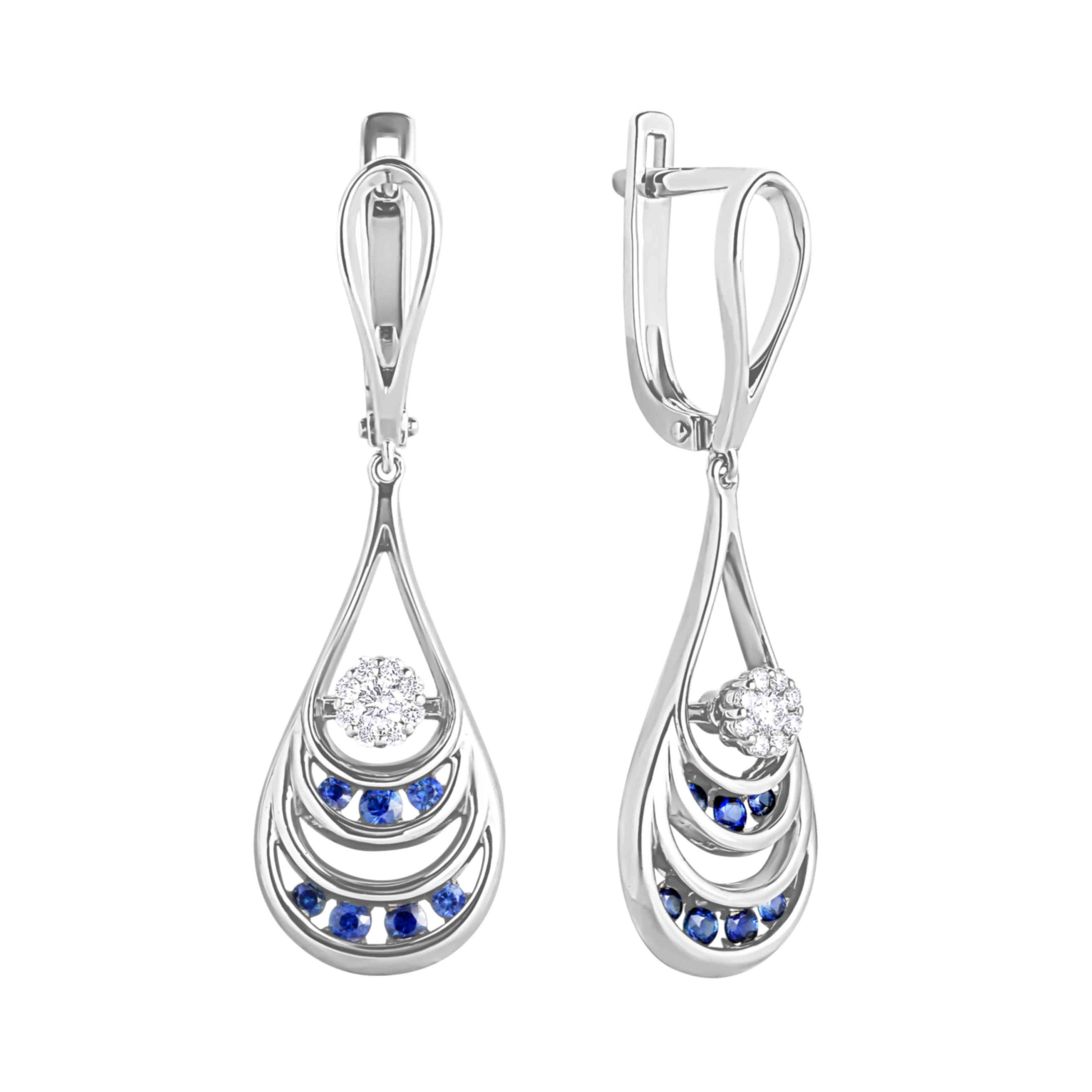 Sapphire and Diamond Cascade Earrings