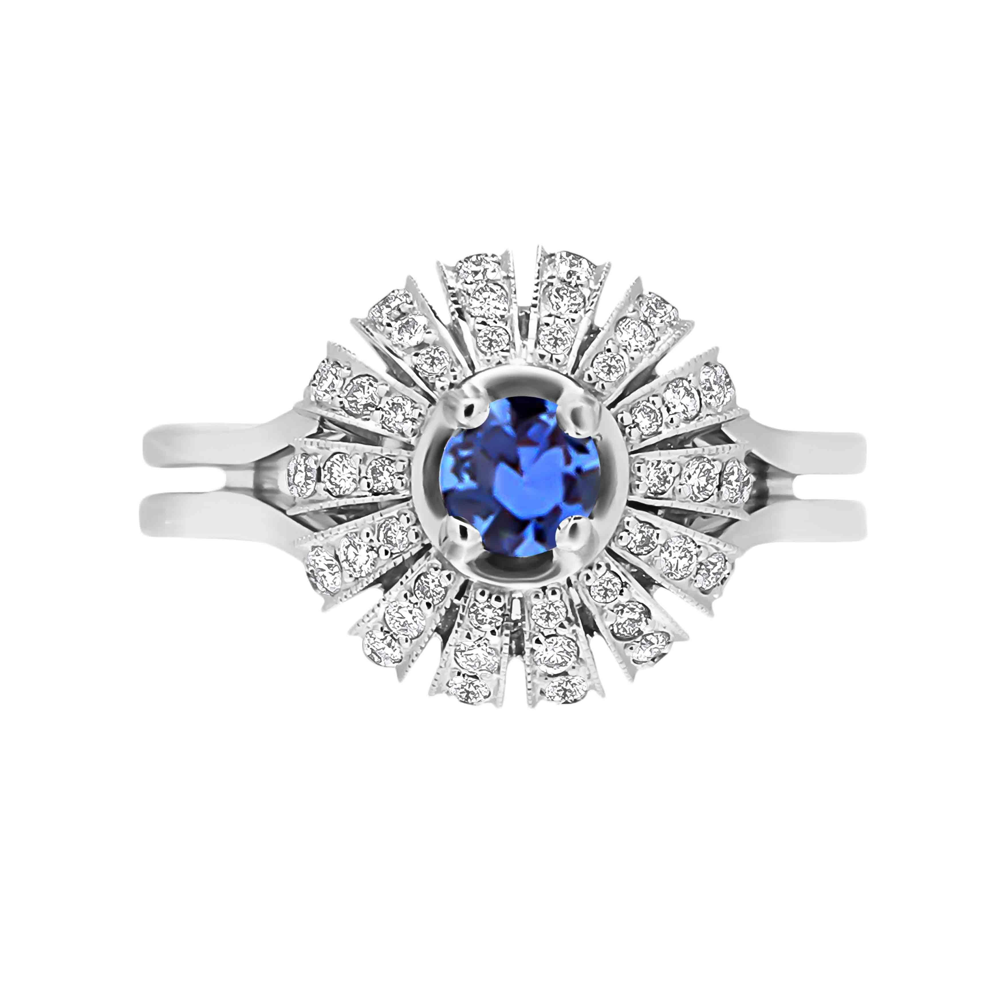 Estate Diamond Jewelry Cornflower Blue Sapphire Ring