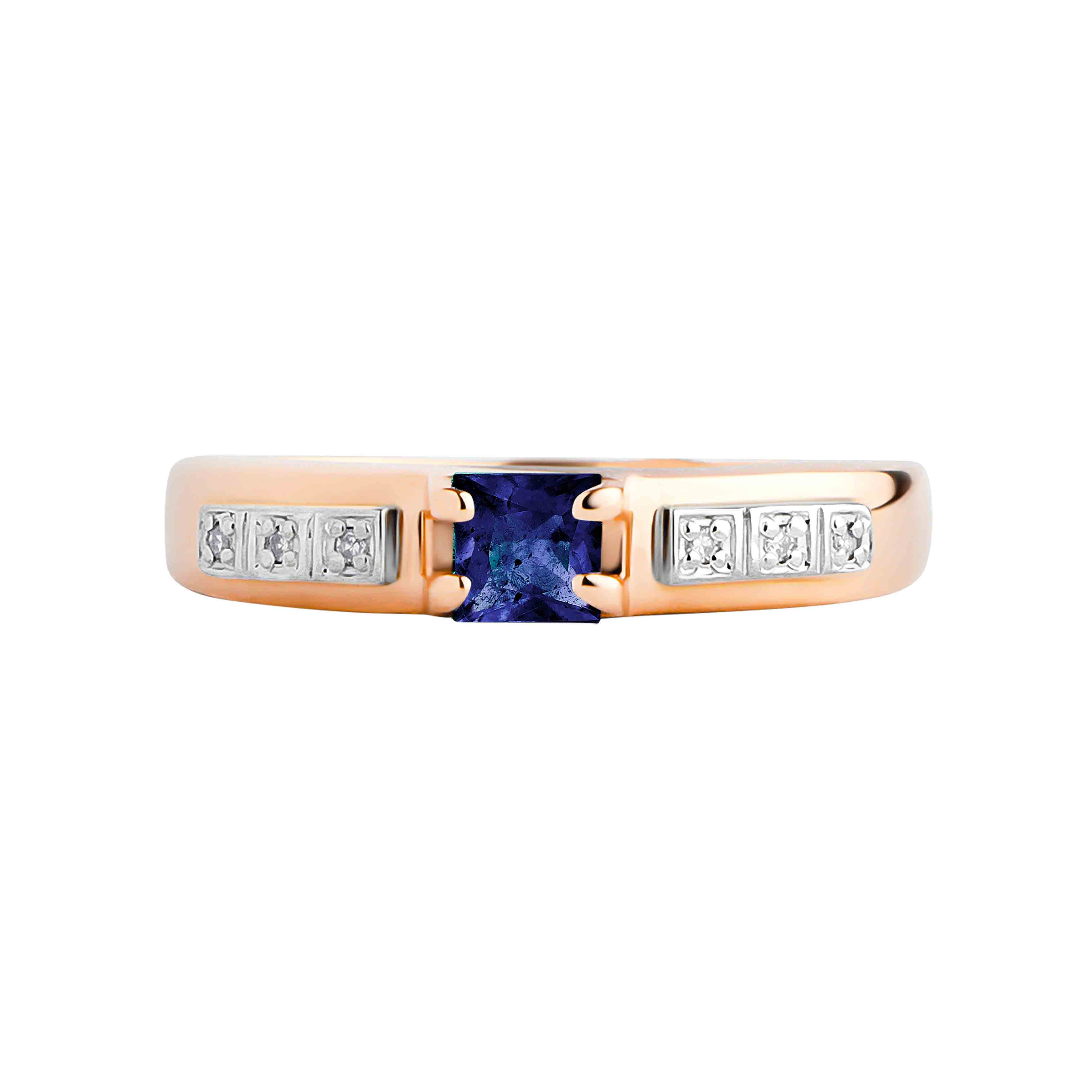 Princess Cut Sapphire and Diamond Ring.  View  2