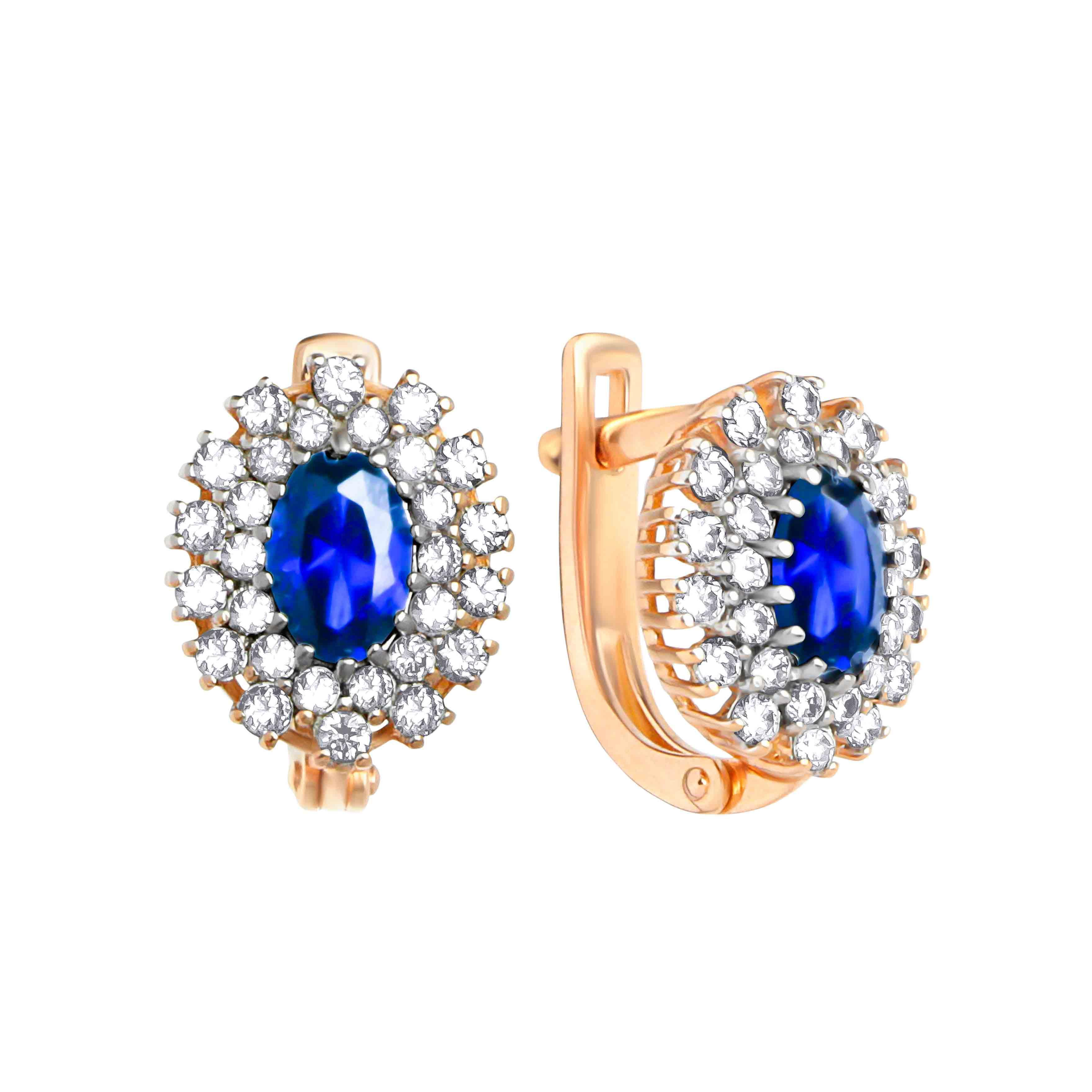 Oval Faux Sapphire and Diamond Earrings