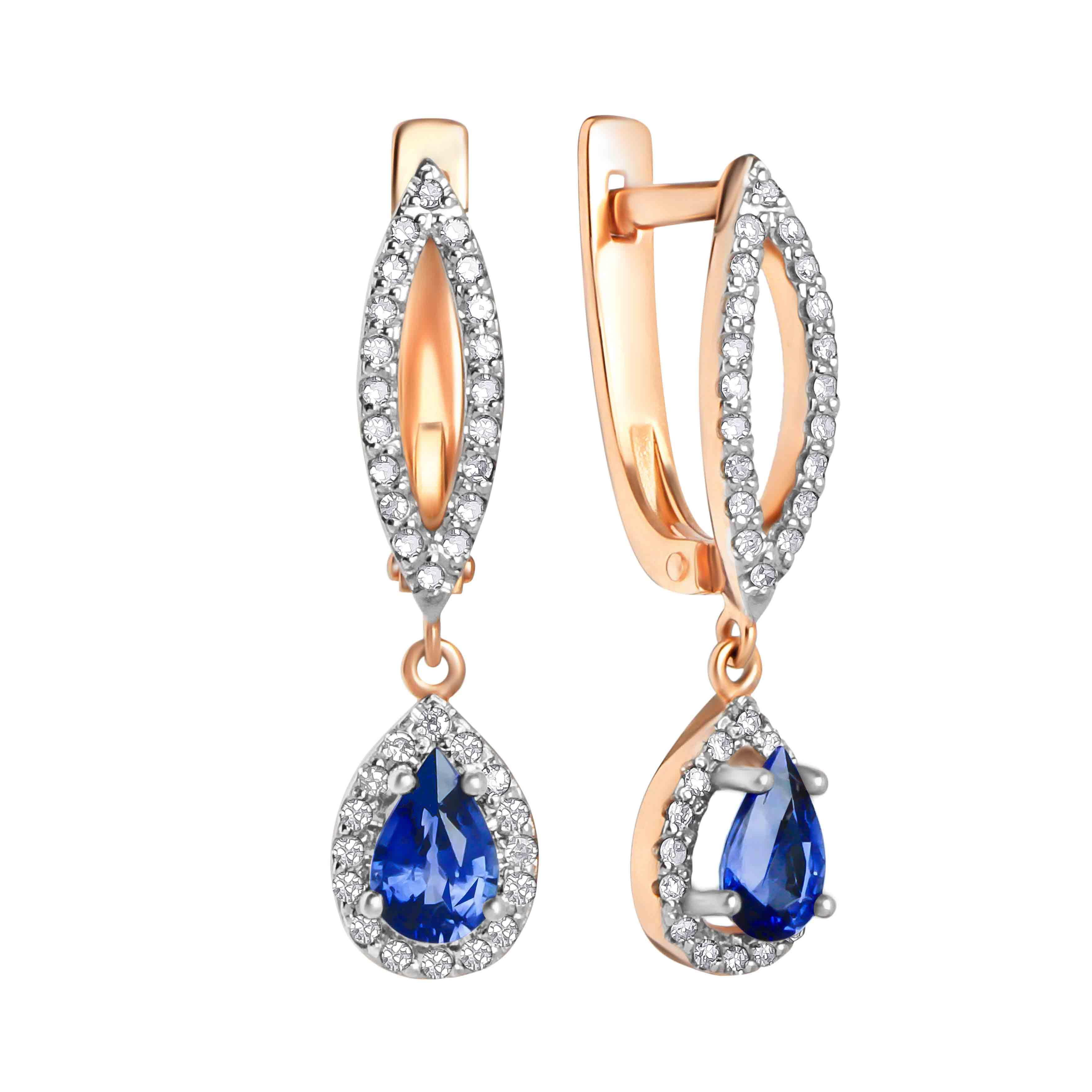 Teardrop Sapphire and Diamond Earrings
