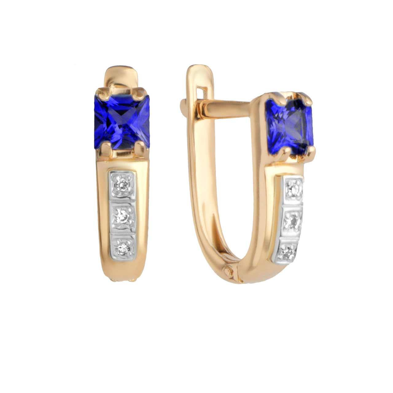 Princess Cut Sapphire and Diamond Earrings