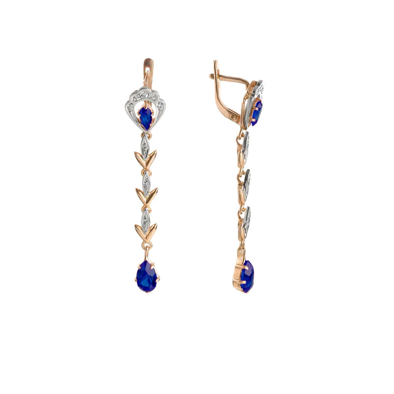 Faux Sapphire Vintage Style Dangle Earrings