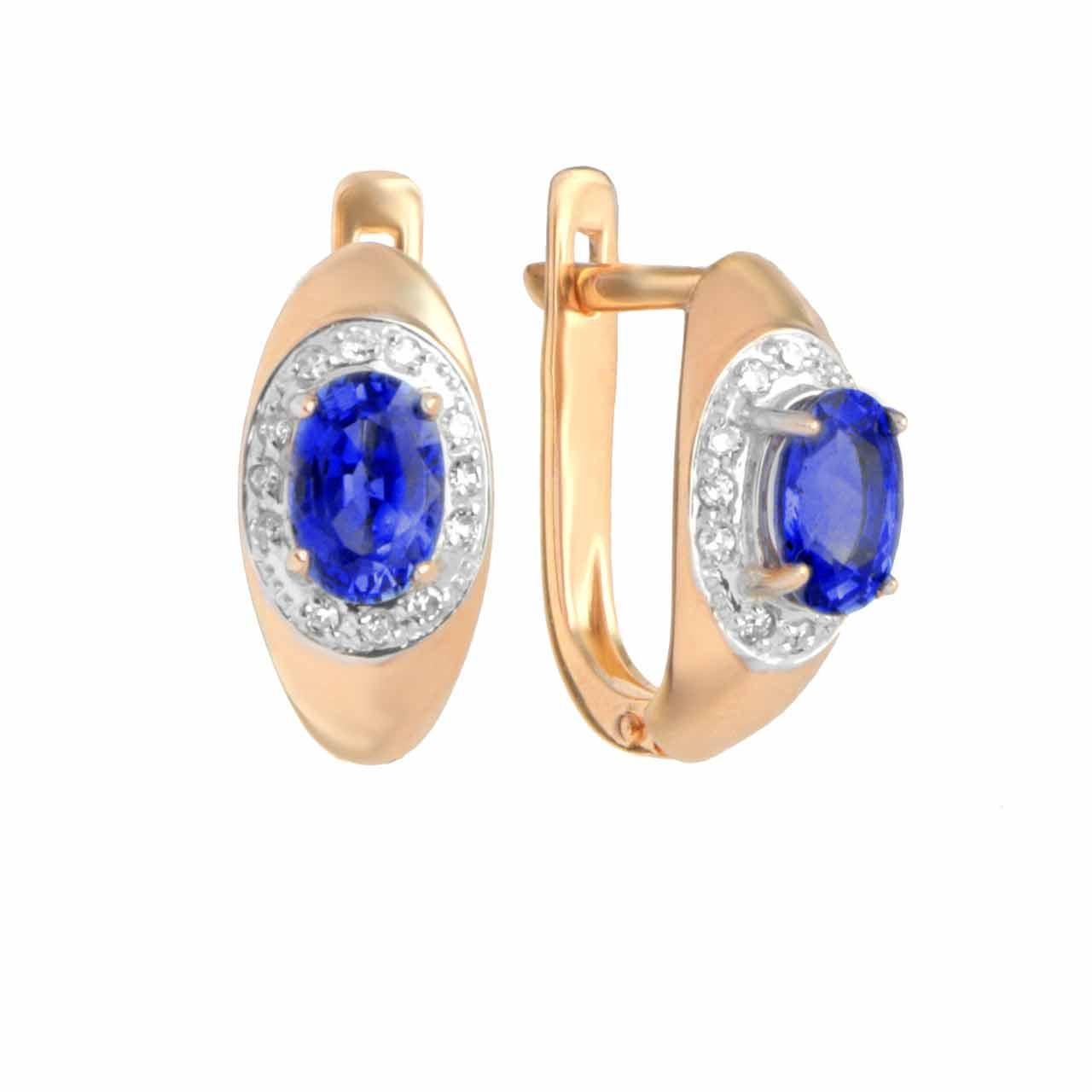 Cornflower Blue Sapphire Diamond Earrings