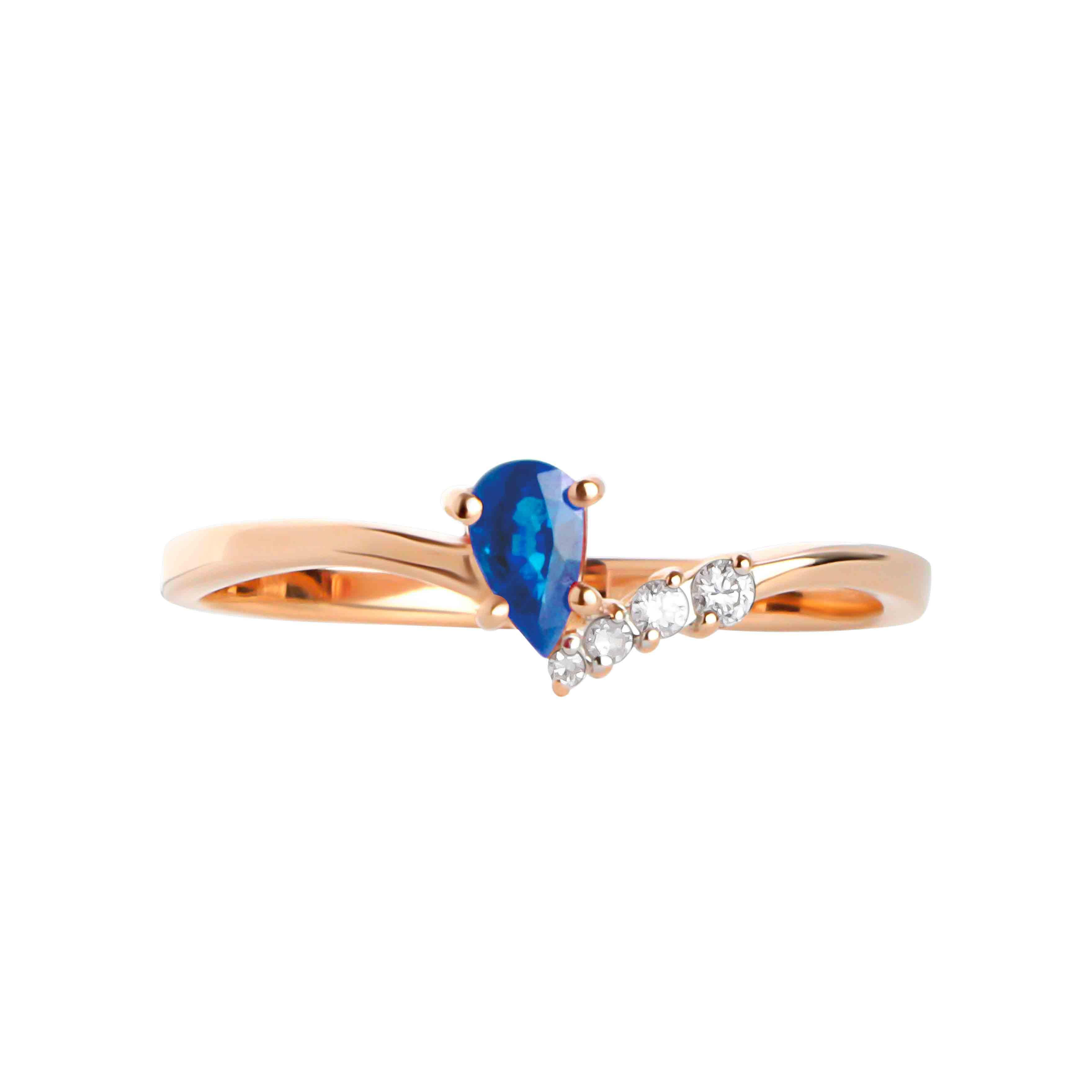 Pear-shape Sapphire and Diamond Ring. View 2
