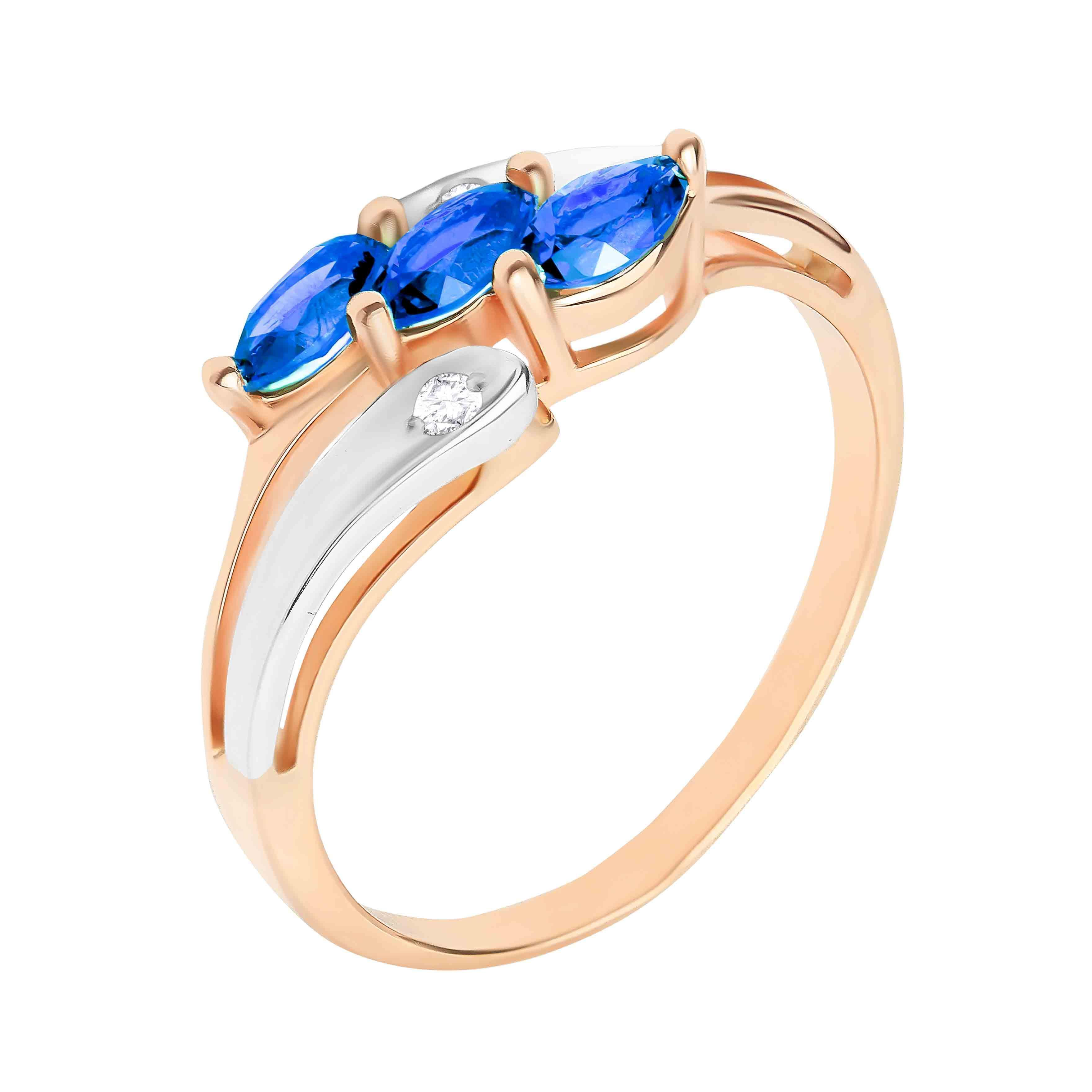 Marquise-shaped Sapphire and Diamond Ring