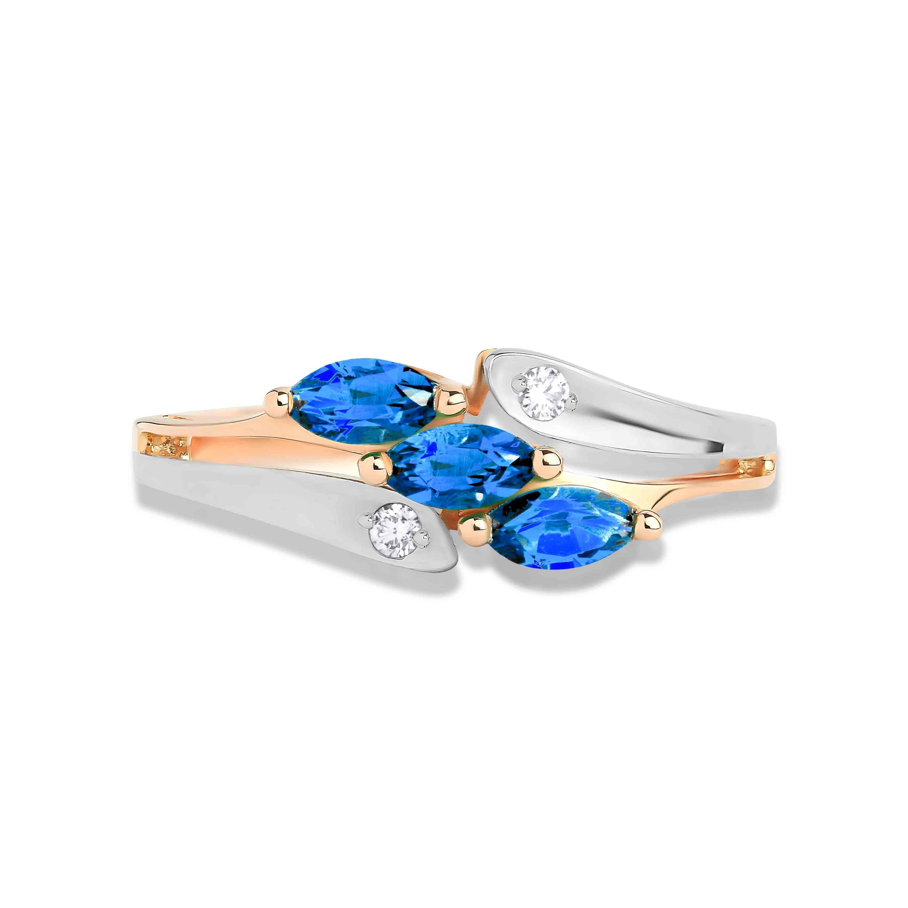 Marquise-shaped Sapphire and Diamond Rose Gold Ring. View 2