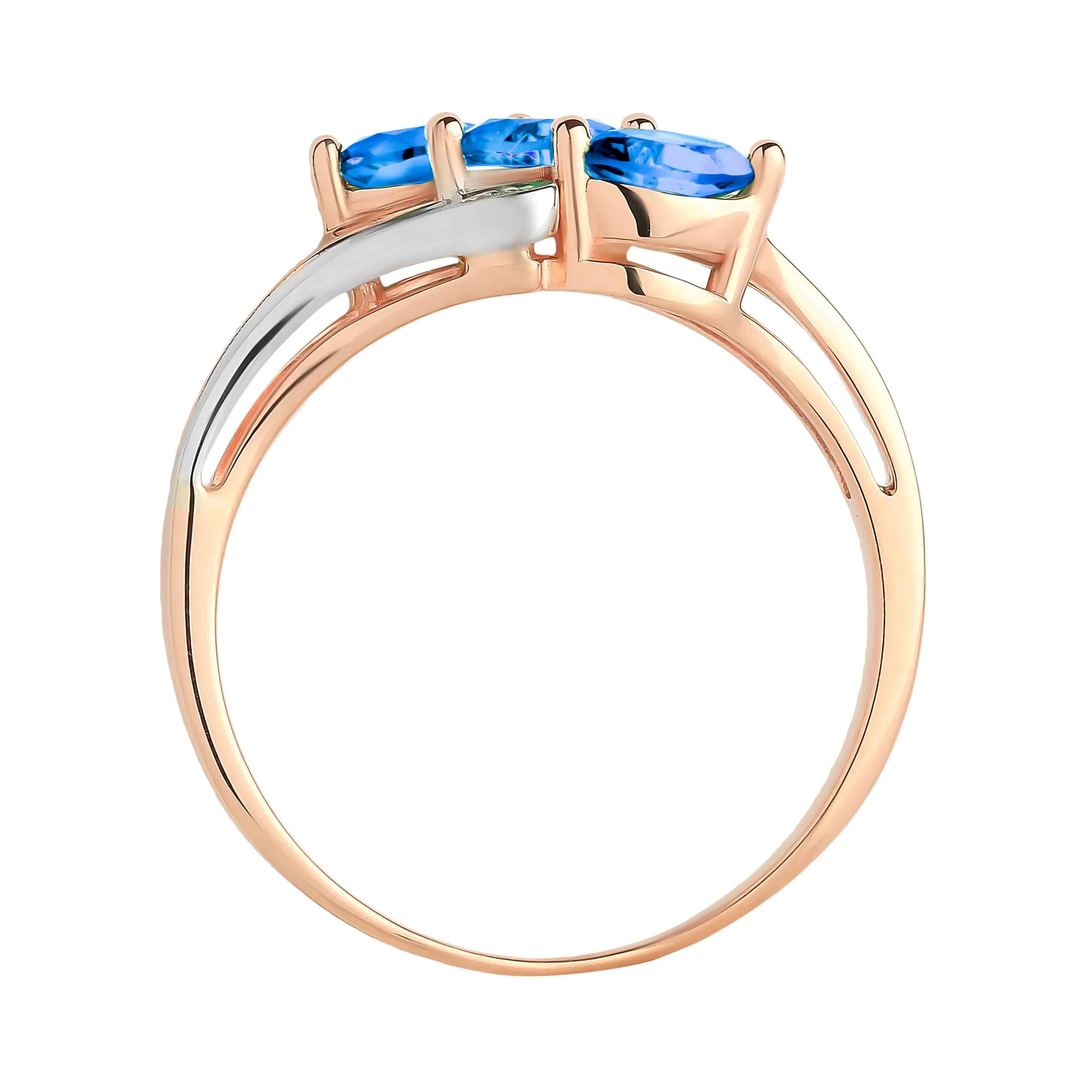 Marquise-shaped Sapphire and Diamond Rose Gold Ring. View 3