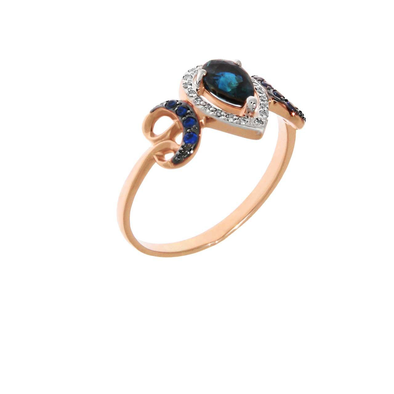 Sapphire rose gold ring 1
