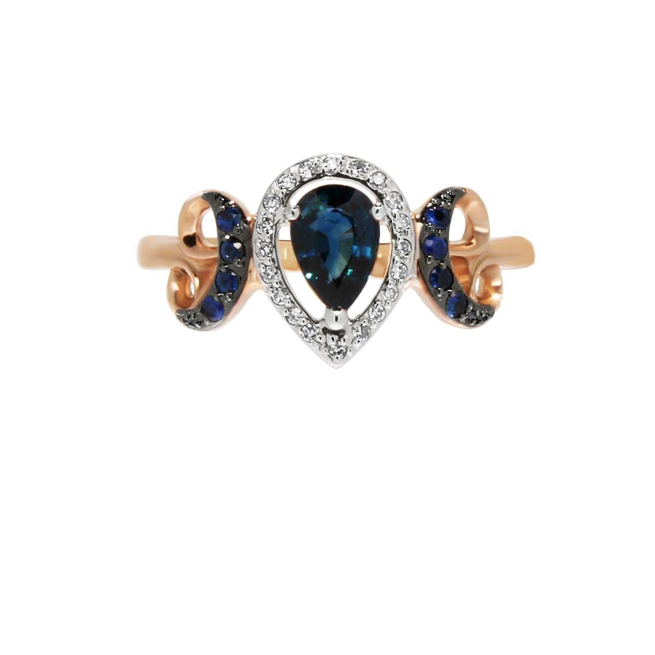 Sapphire rose gold ring 2