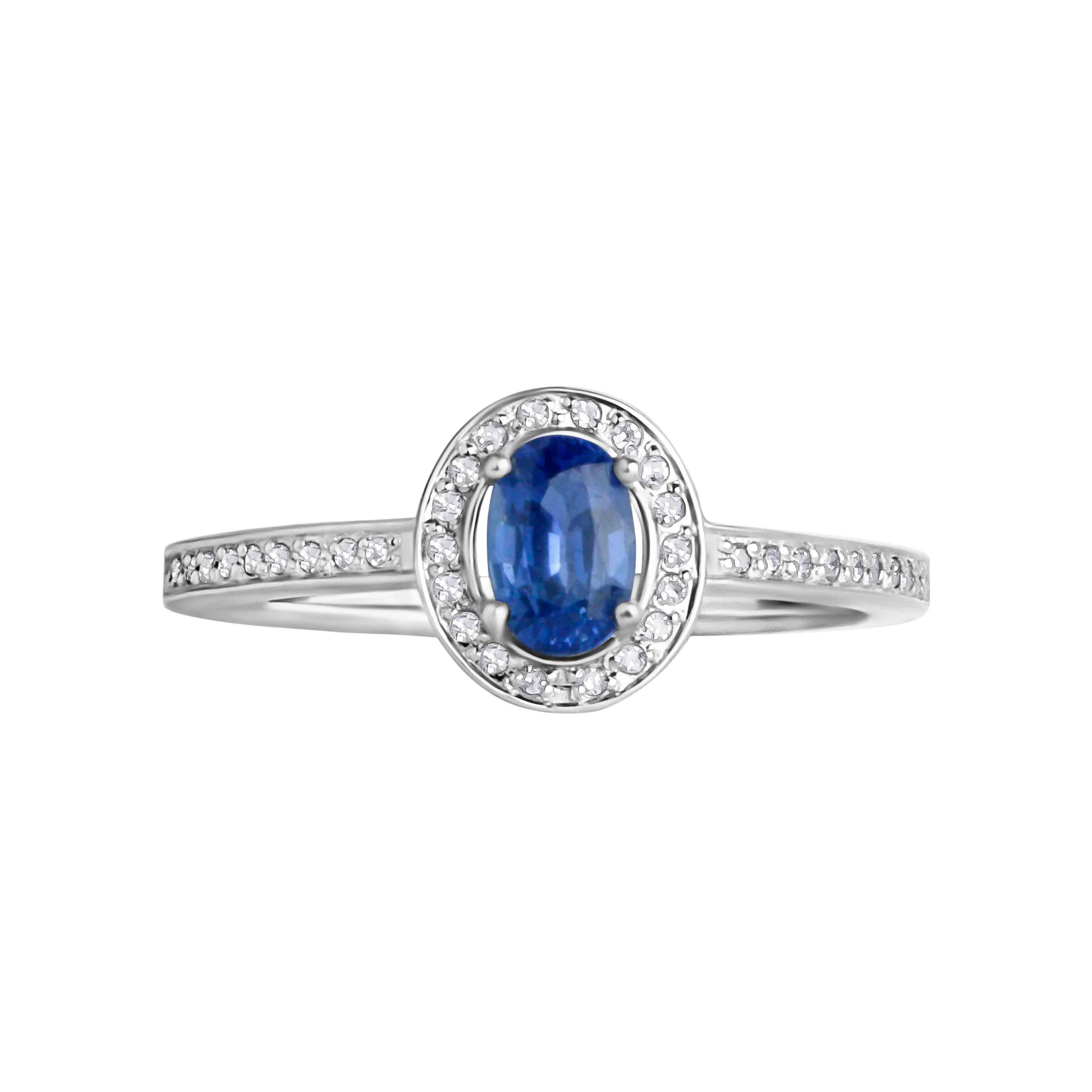 Hypoallergenic white gold sapphire ring. View 2.