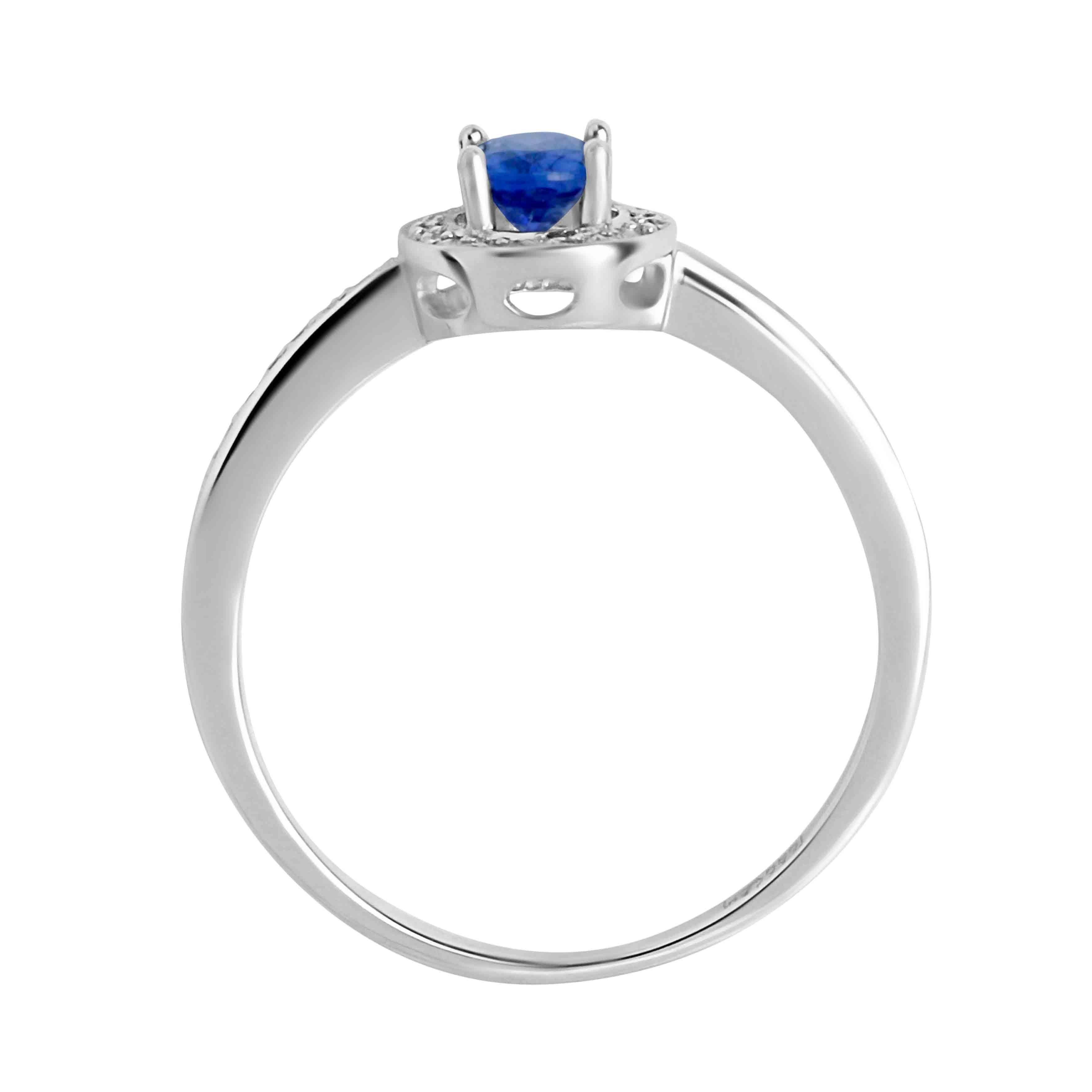 Hypoallergenic white gold sapphire ring. View 3.