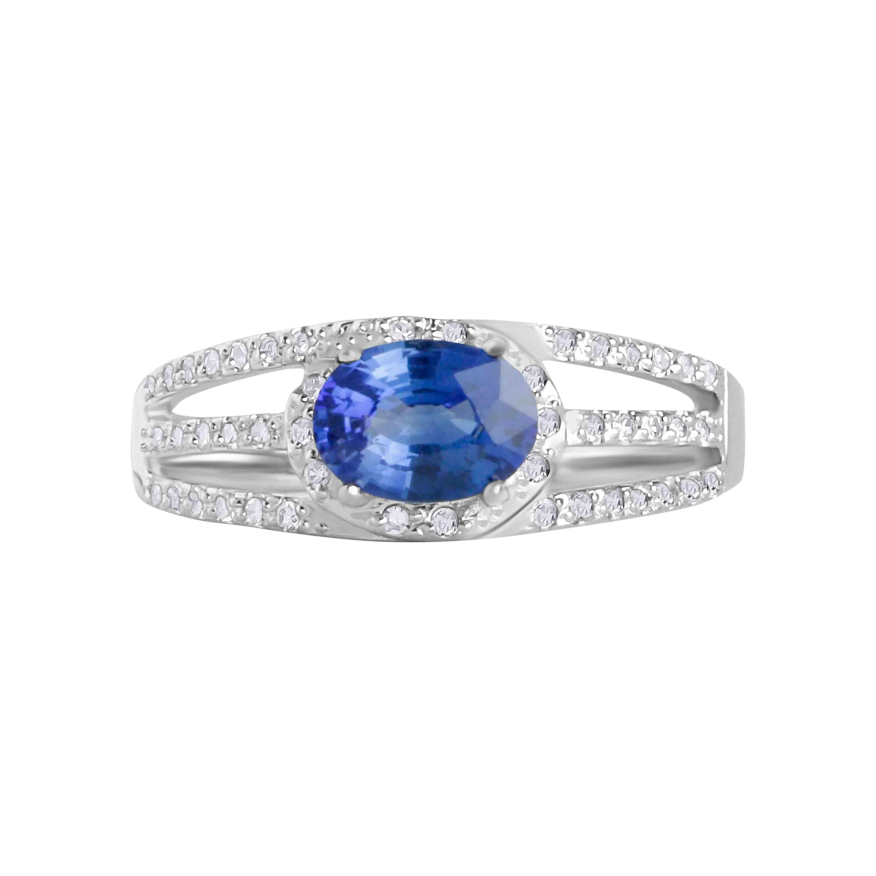 Diamond Triple Shank Sapphire Ring. View 2