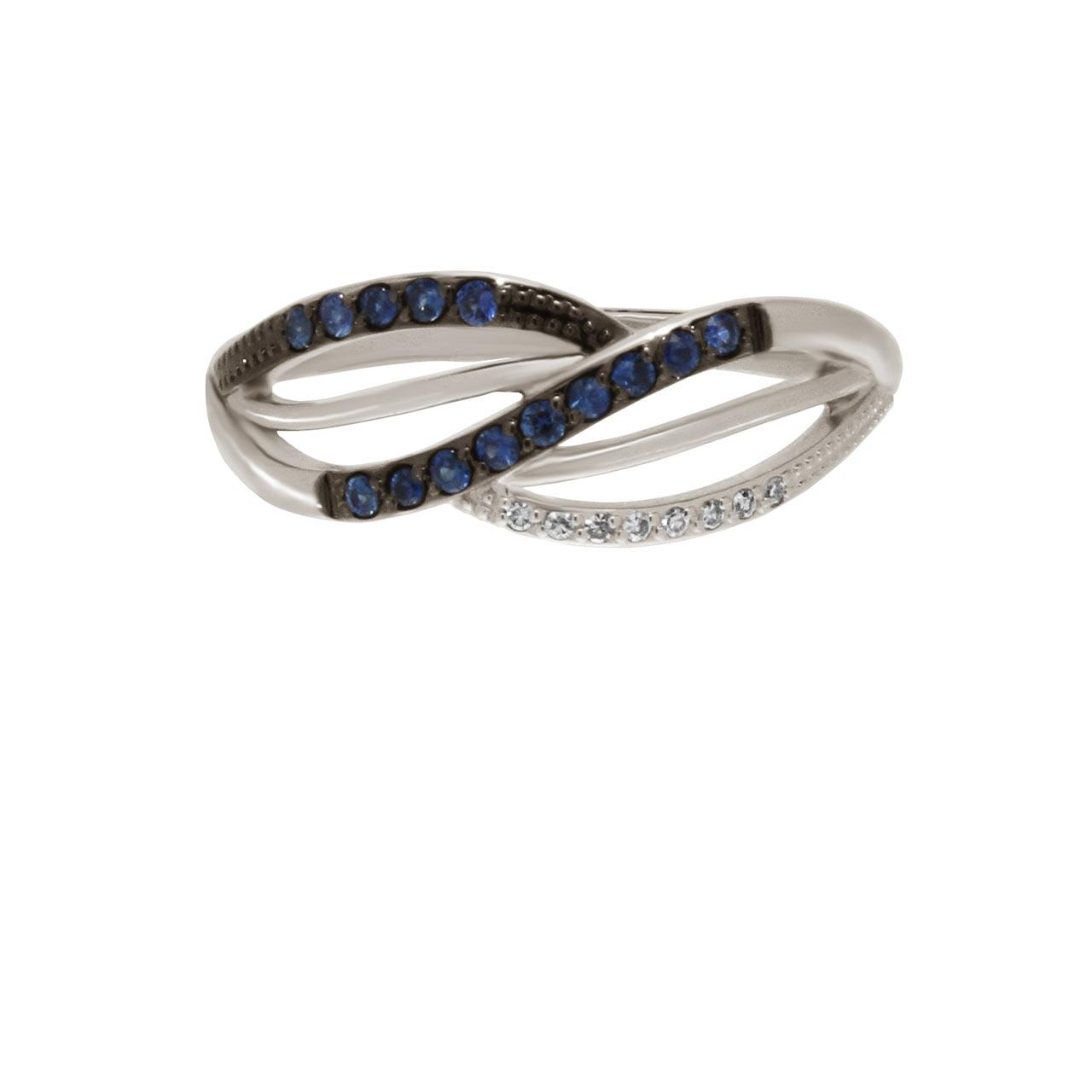 Sapphire and Diamond 14kt White Gold Crisscross Ring. View 2
