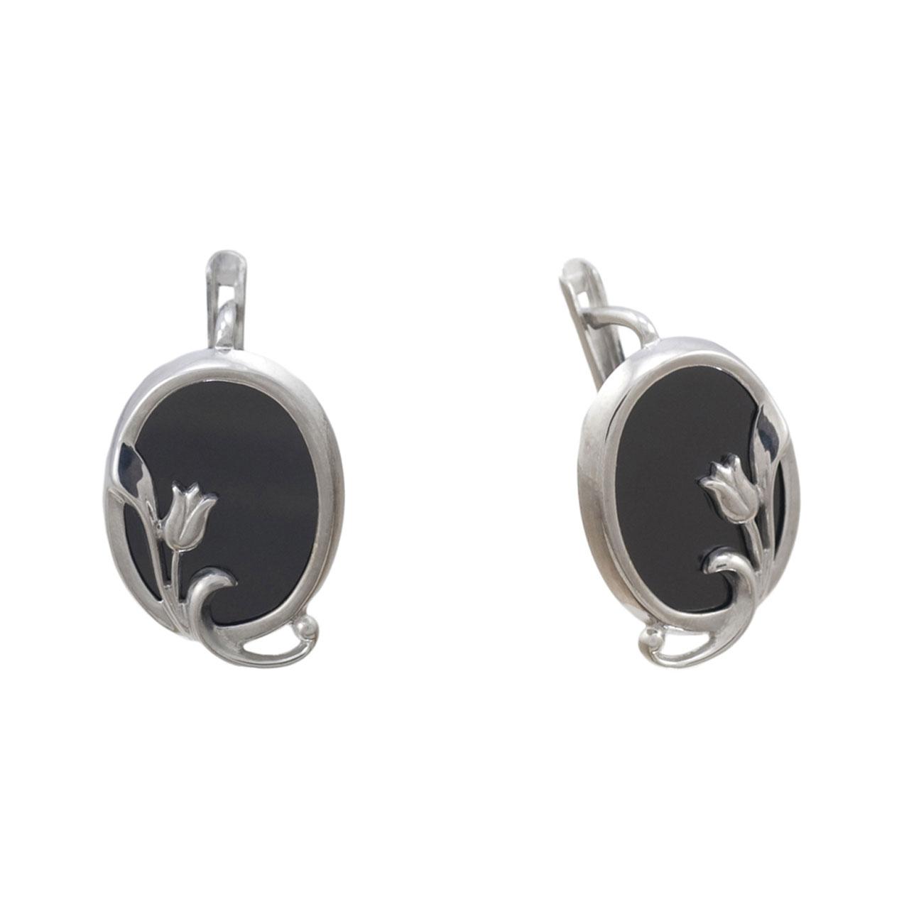 russian silver jewelry russian silver onyx earrings